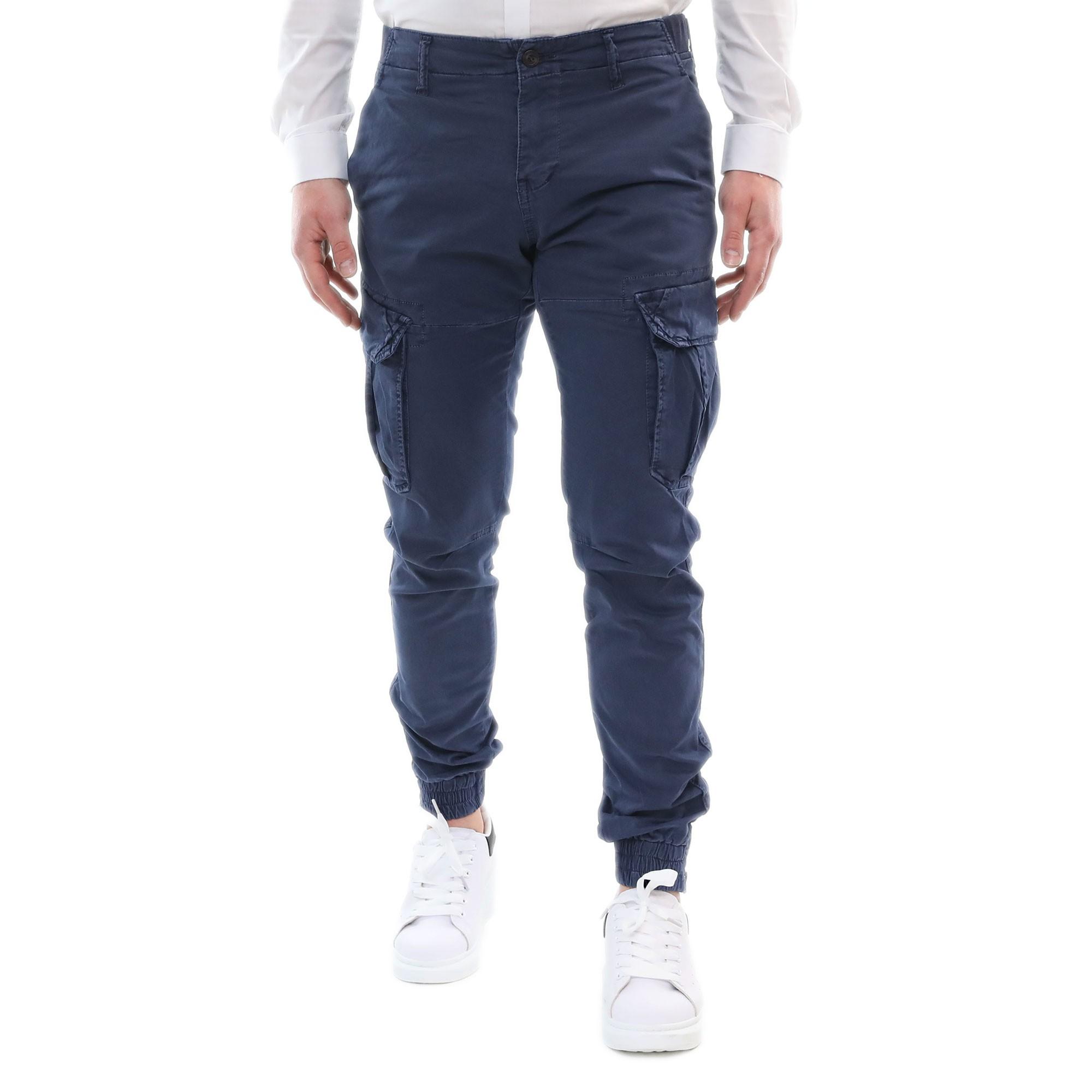Pantalone-Uomo-Cargo-Invernale-Slim-Fit-Verde-Militare-Blu-Nero-Tasche-Laterali