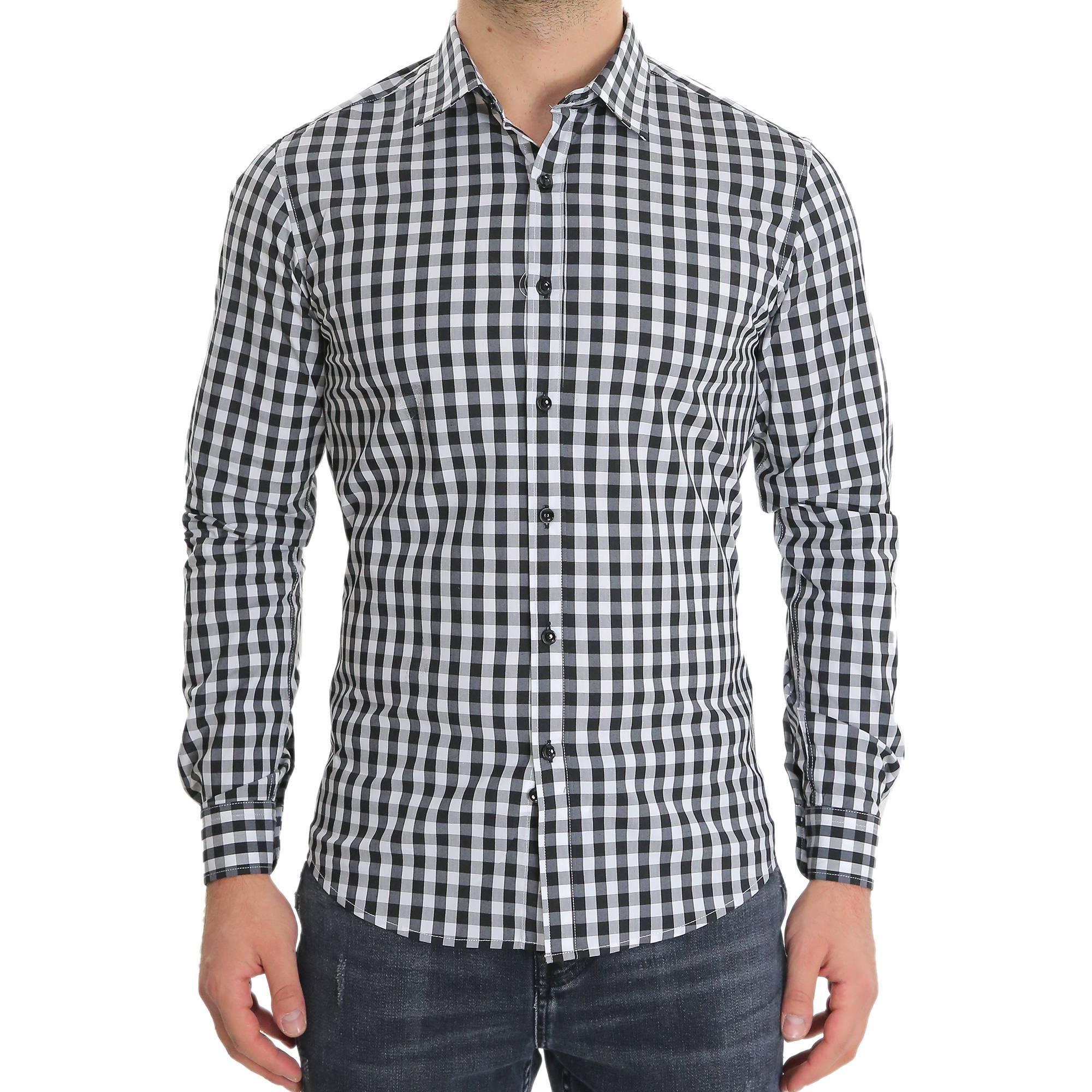 Camicia-Uomo-Cotone-Quadretti-Casual-Slim-Fit-Quadri-Scozzese-Manica-Lunga miniatura 3