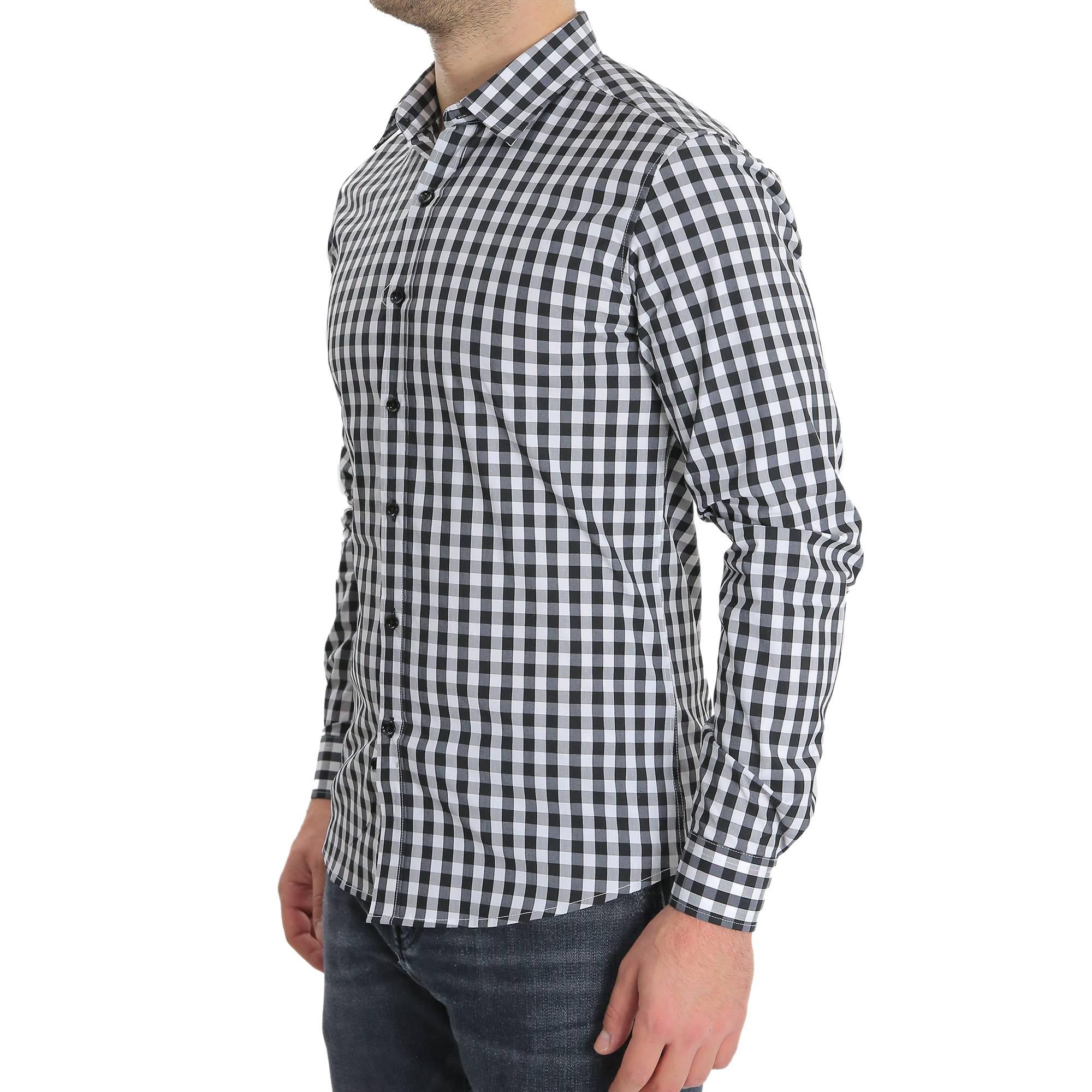 Camicia-Uomo-Cotone-Quadretti-Casual-Slim-Fit-Quadri-Scozzese-Manica-Lunga miniatura 4