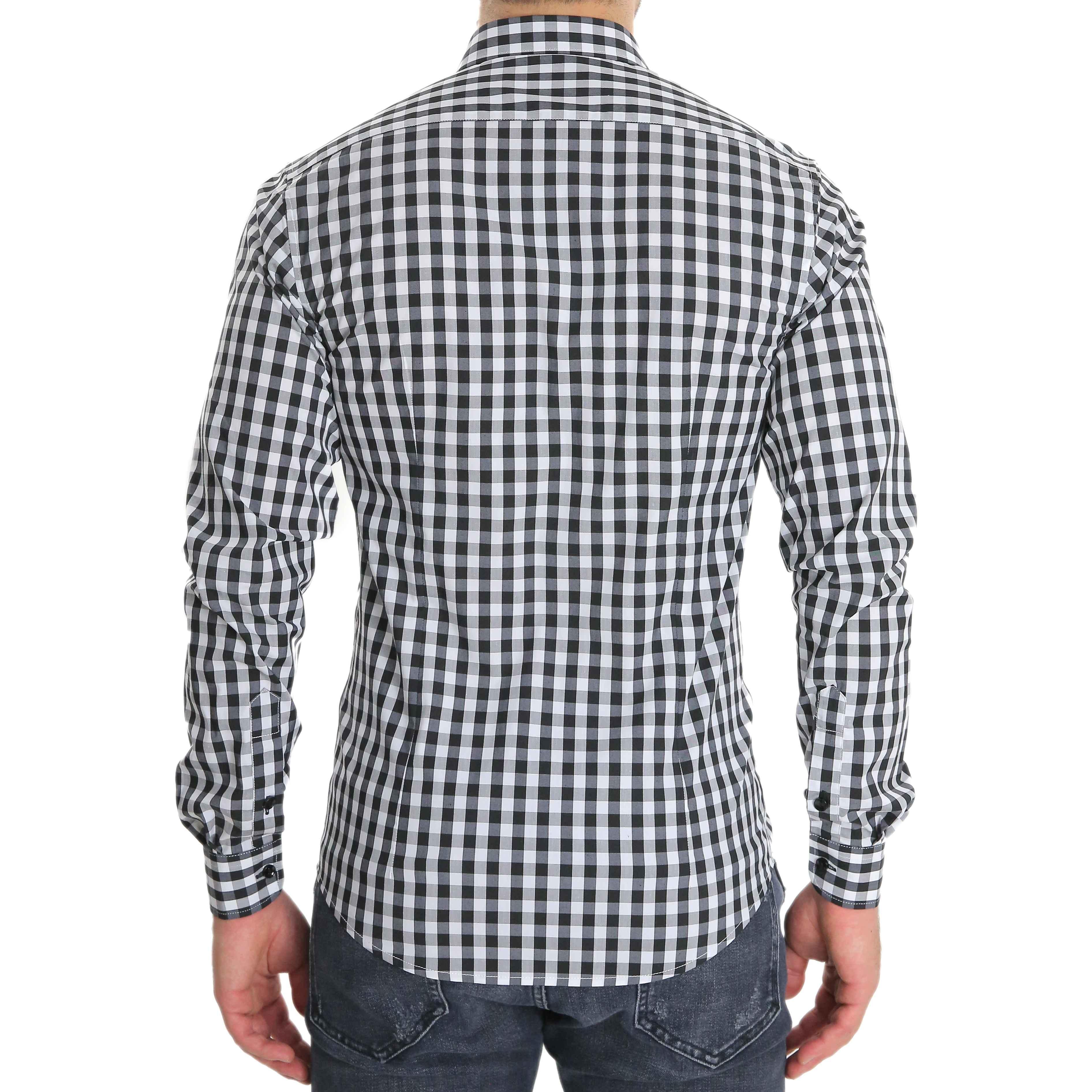 Camicia-Uomo-Cotone-Quadretti-Casual-Slim-Fit-Quadri-Scozzese-Manica-Lunga miniatura 5
