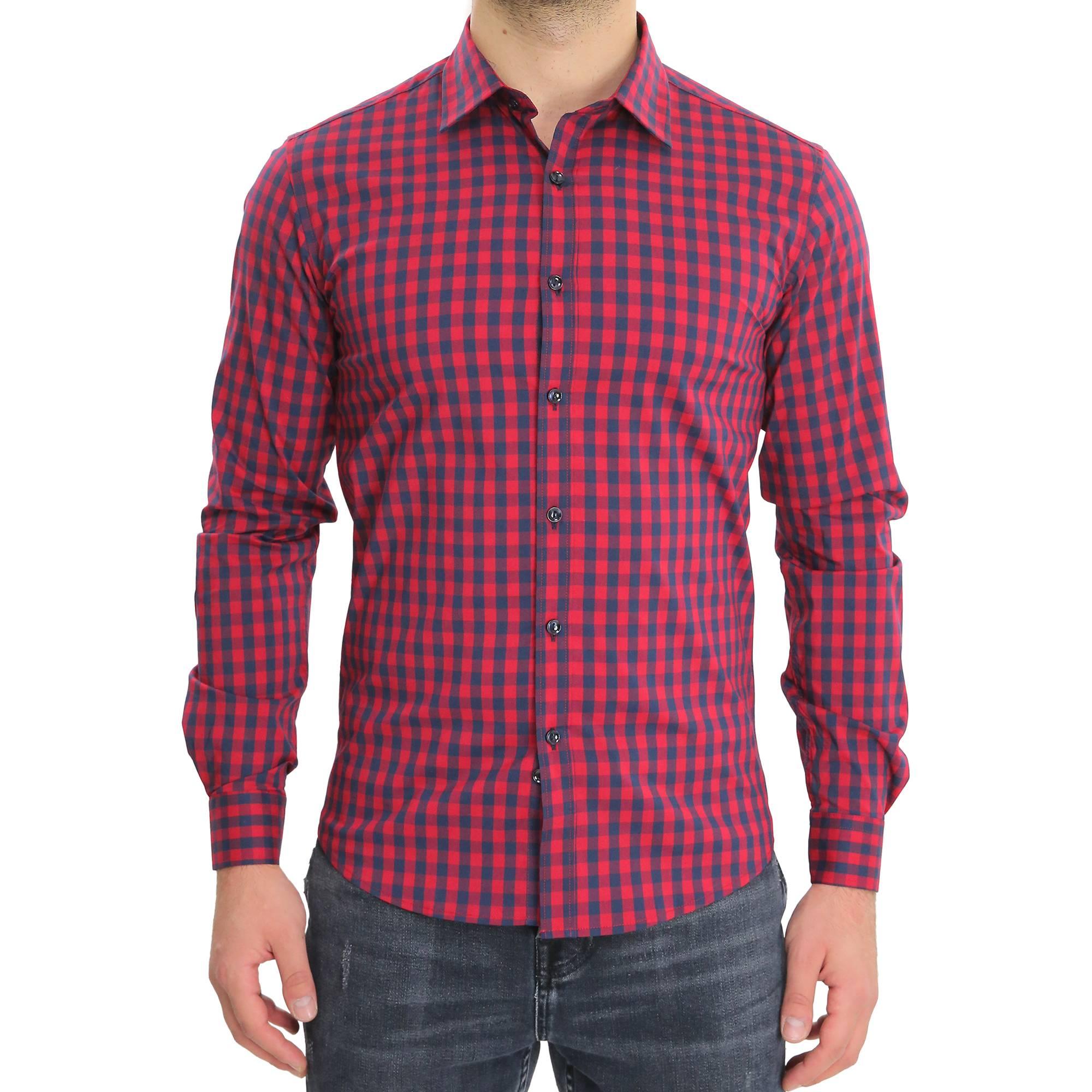 Camicia-Uomo-Cotone-Quadretti-Casual-Slim-Fit-Quadri-Scozzese-Manica-Lunga miniatura 6