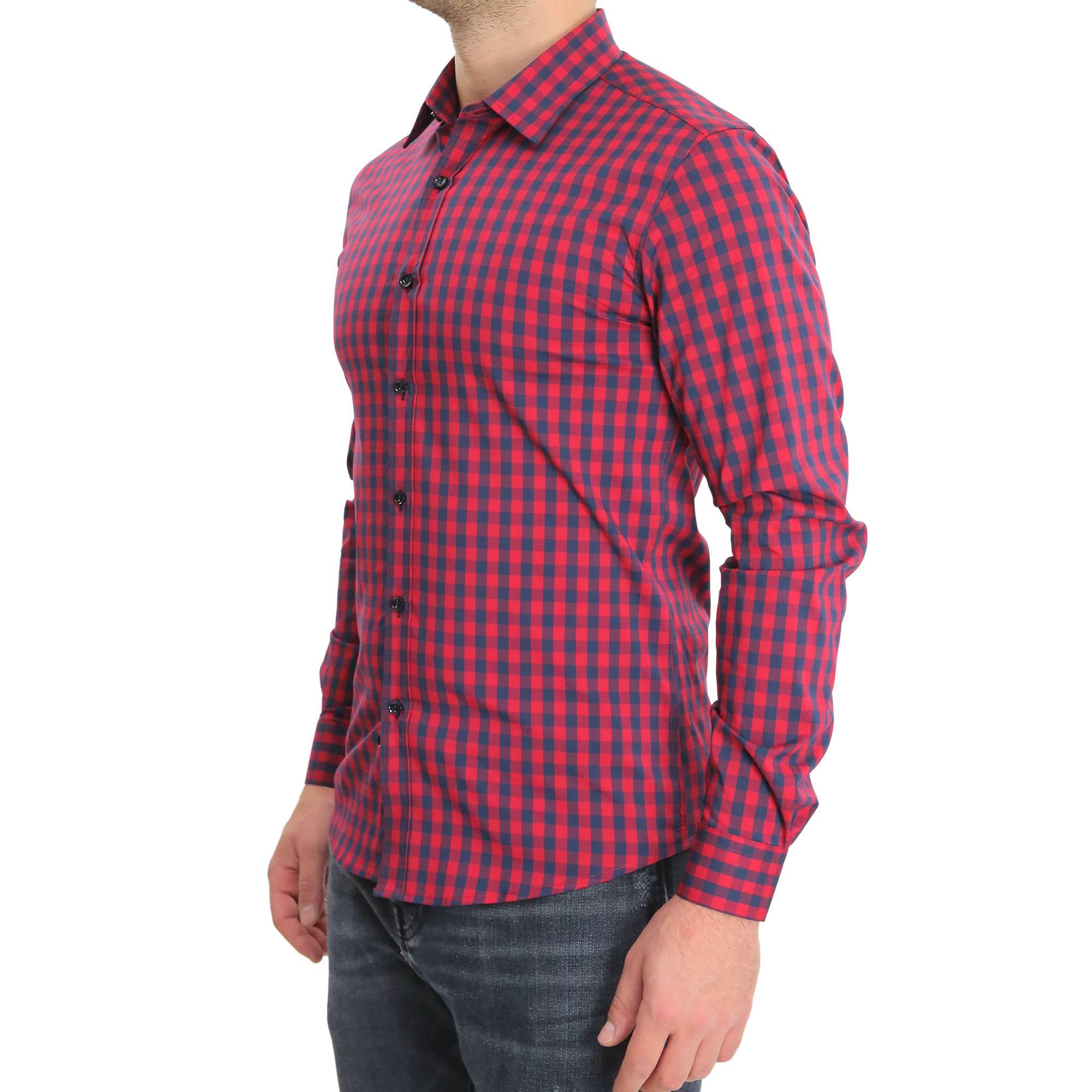 Camicia-Uomo-Cotone-Quadretti-Casual-Slim-Fit-Quadri-Scozzese-Manica-Lunga miniatura 7