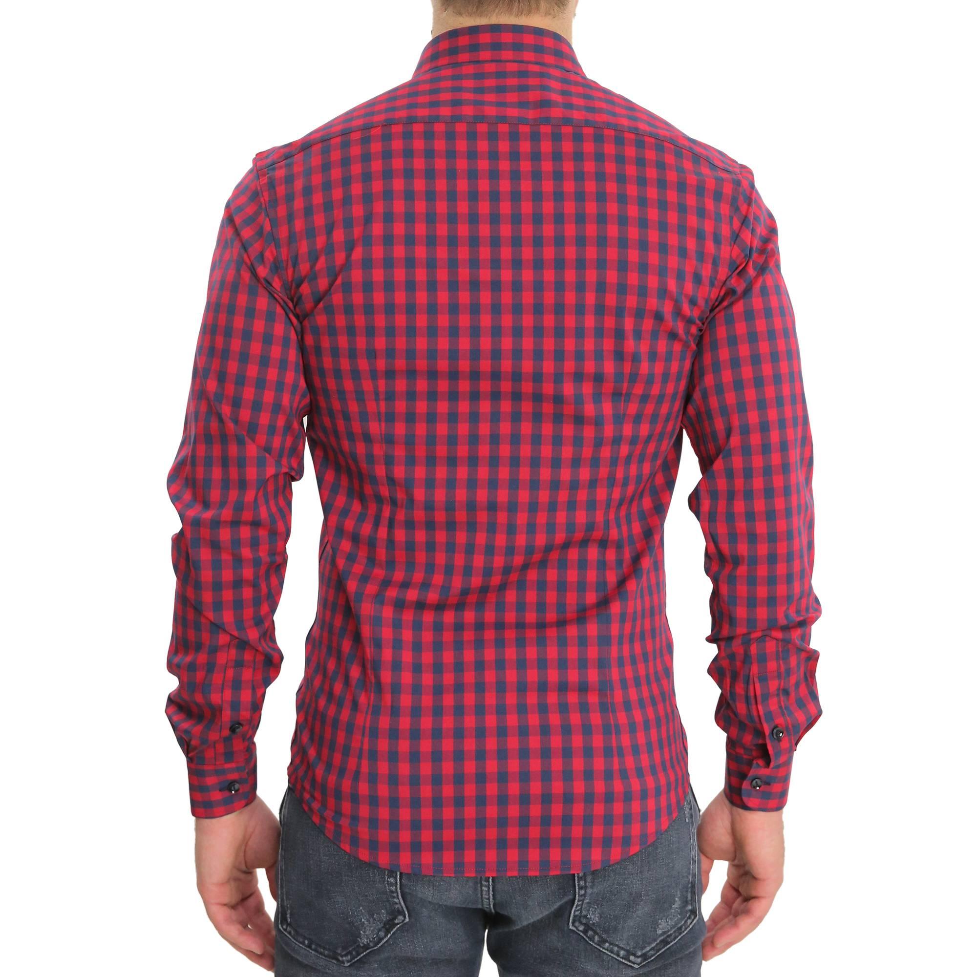 Camicia-Uomo-Cotone-Quadretti-Casual-Slim-Fit-Quadri-Scozzese-Manica-Lunga miniatura 14