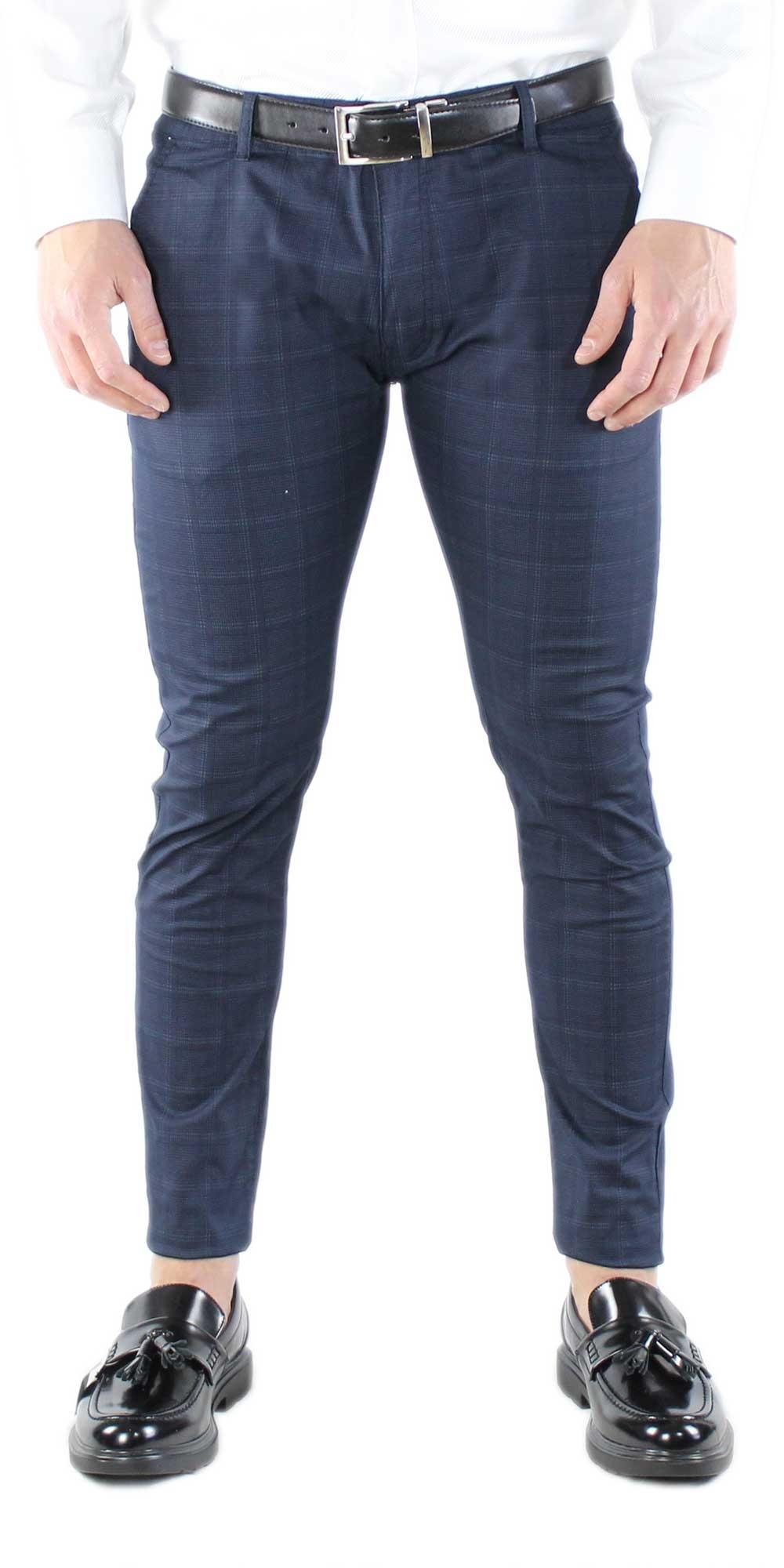 Pantaloni-Uomo-Chino-Silm-Fit-Estivi-a-Quadri-Pantalone-Elegante-Sartoriale miniatura 3