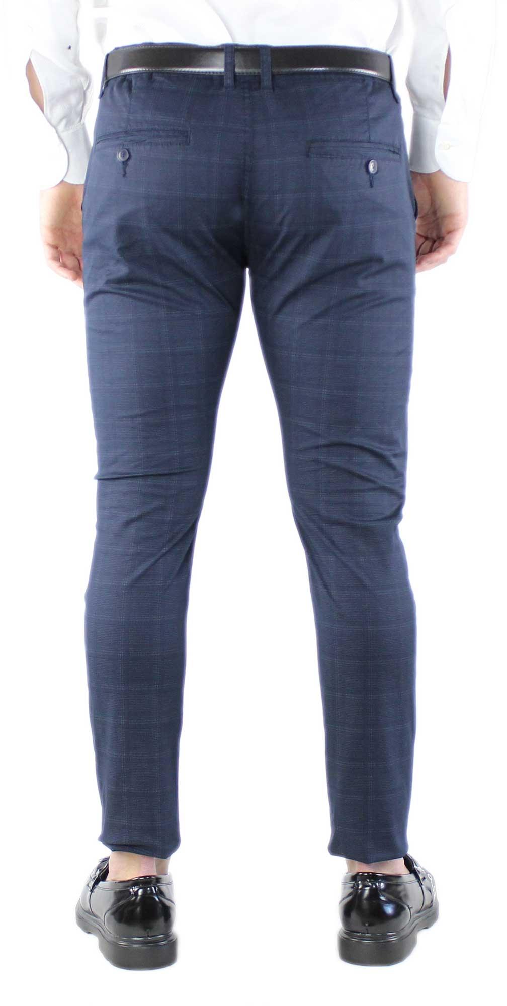 Pantaloni-Uomo-Chino-Silm-Fit-Estivi-a-Quadri-Pantalone-Elegante-Sartoriale miniatura 6