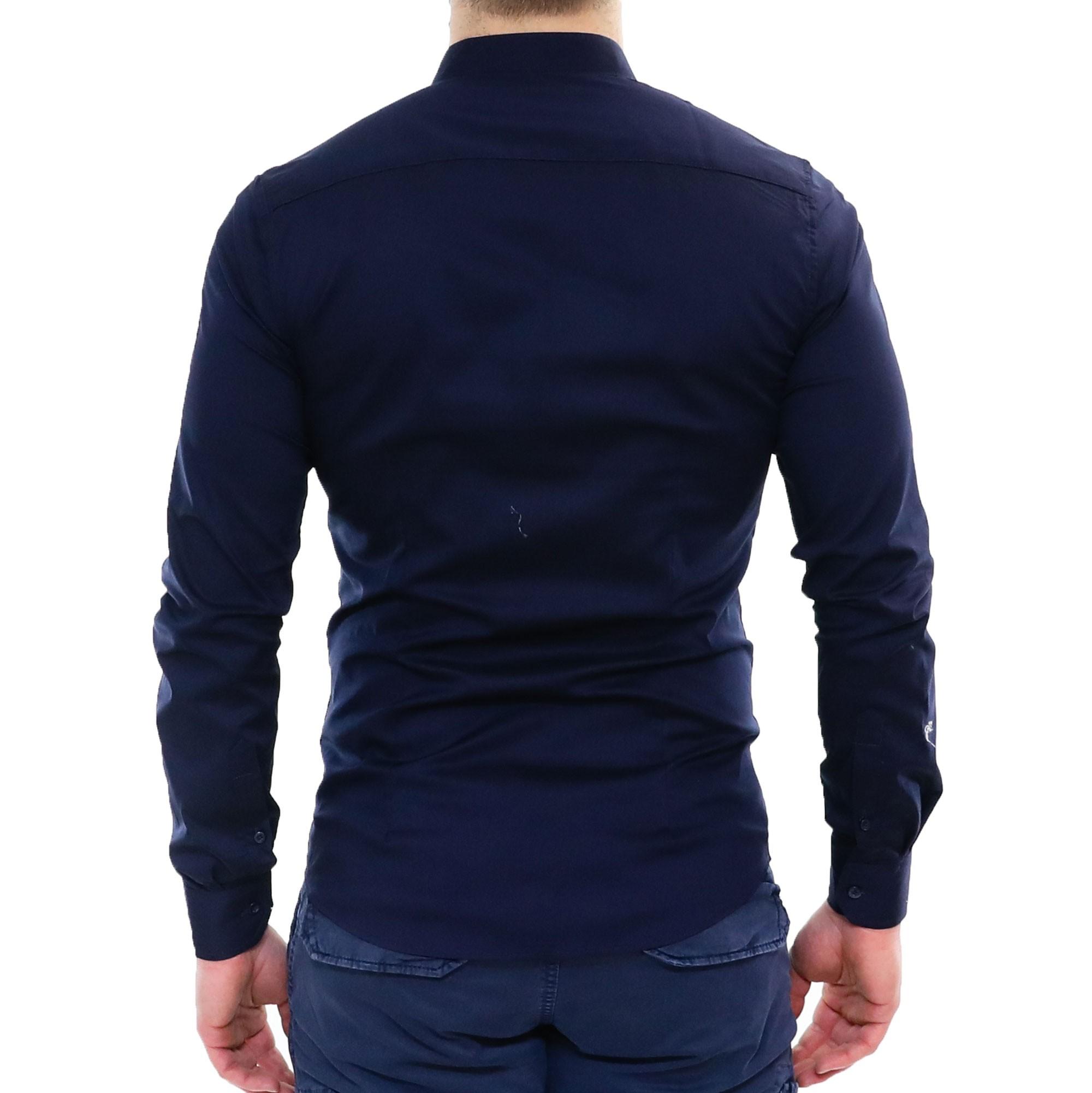 Camicia-Uomo-Collo-Coreana-Slim-Fit-Serafino-Bianca-Blu-Nera-Cotone-Casual miniatura 15