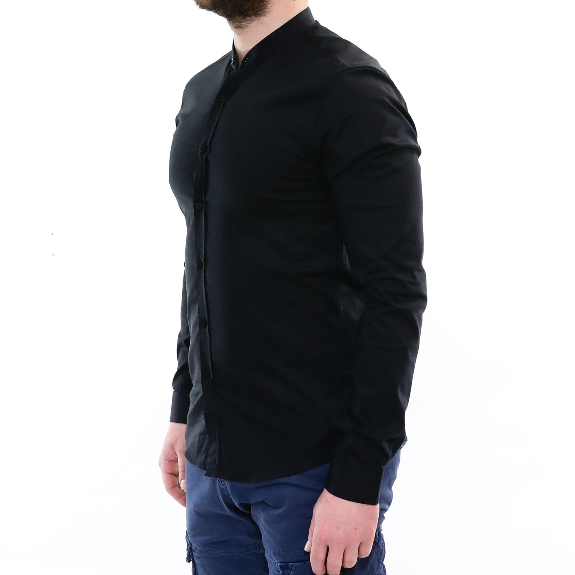 Camicia-Uomo-Collo-Coreana-Slim-Fit-Serafino-Bianca-Blu-Nera-Cotone-Casual miniatura 17