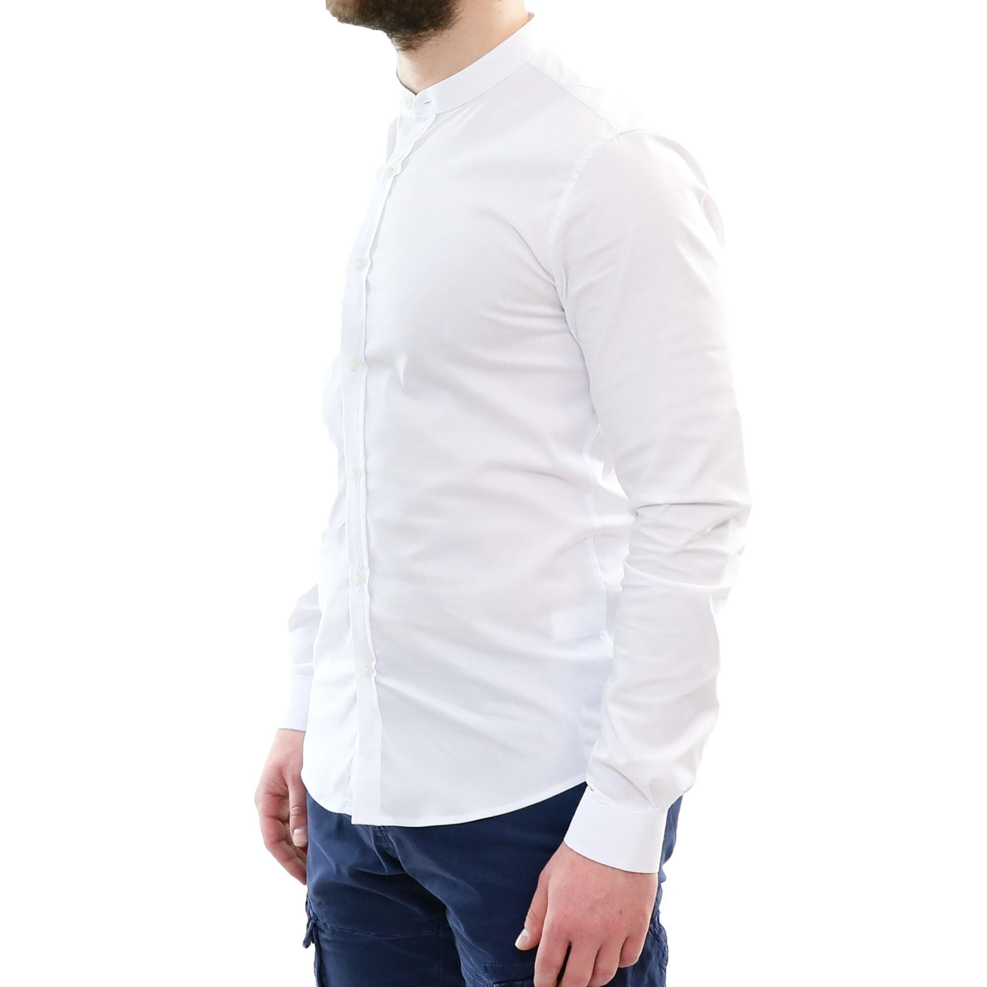 Camicia-Uomo-Collo-Coreana-Slim-Fit-Serafino-Bianca-Blu-Nera-Cotone-Casual miniatura 20