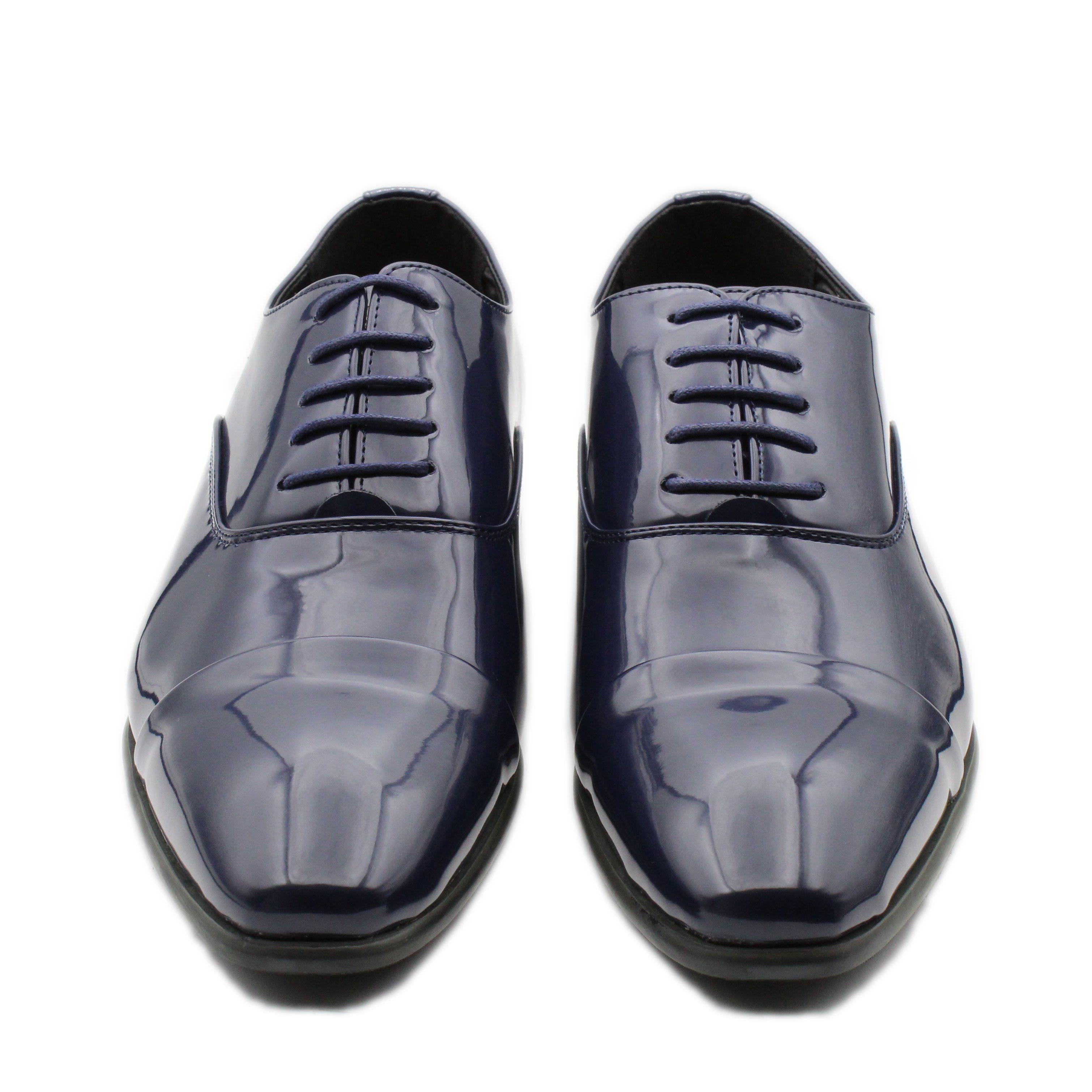Scarpe-Uomo-Eleganti-Lucide-Blu-Estive-Francesine-Classiche-Cerimonia-Oxford miniatura 2
