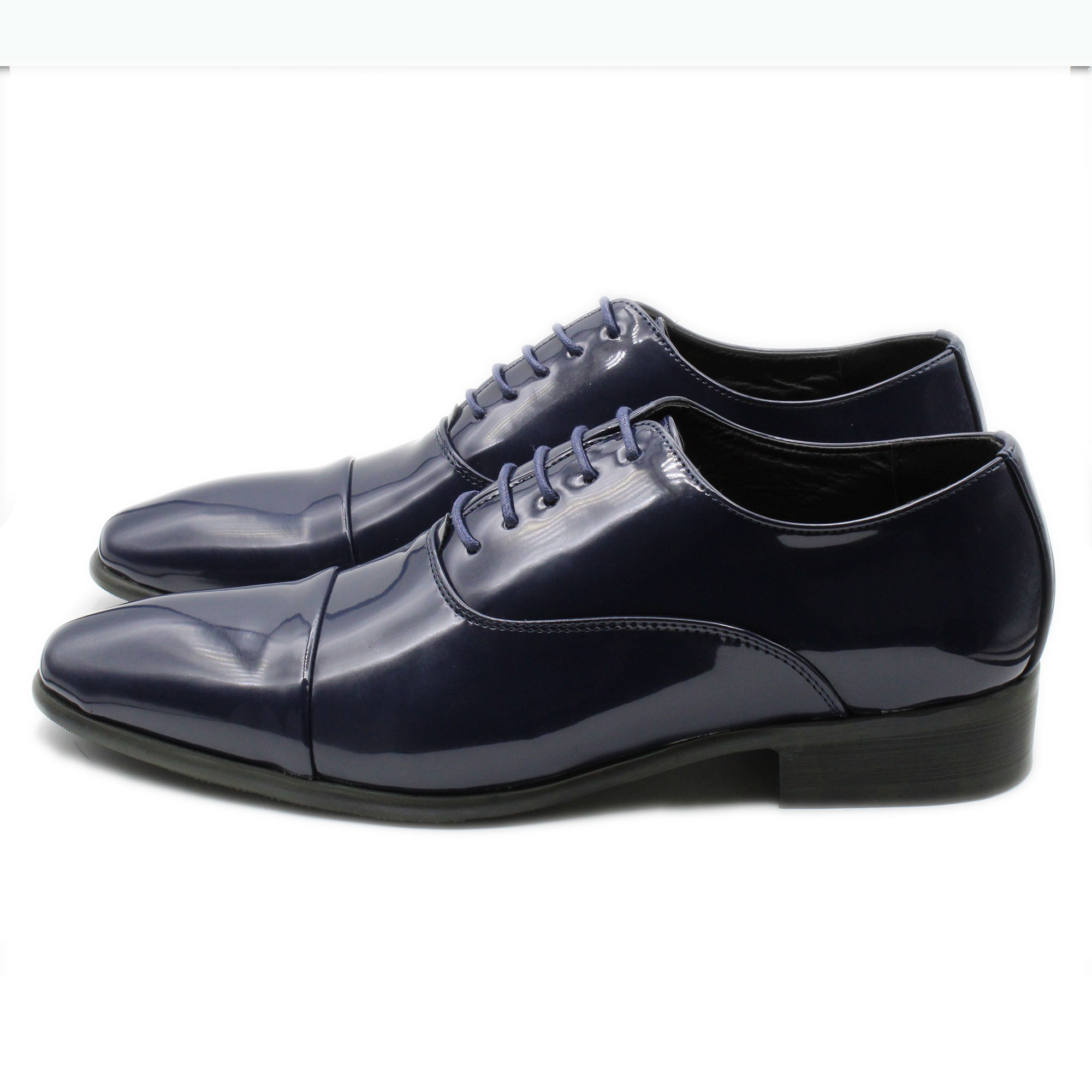 Scarpe-Uomo-Eleganti-Lucide-Blu-Estive-Francesine-Classiche-Cerimonia-Oxford miniatura 3