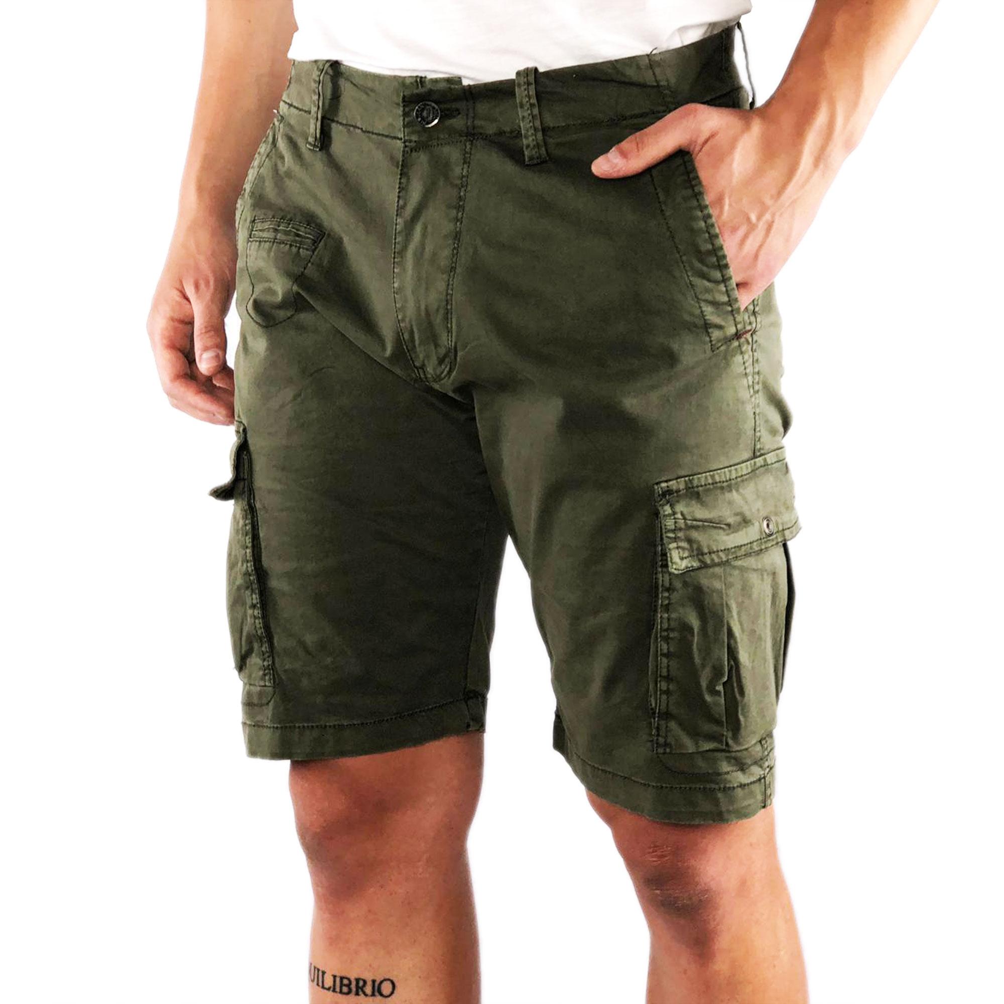 Bermuda-Uomo-Cargo-Cotone-Jeans-Tasconi-Laterali-Pantalone-Corto-Shorts-Casual miniatura 6