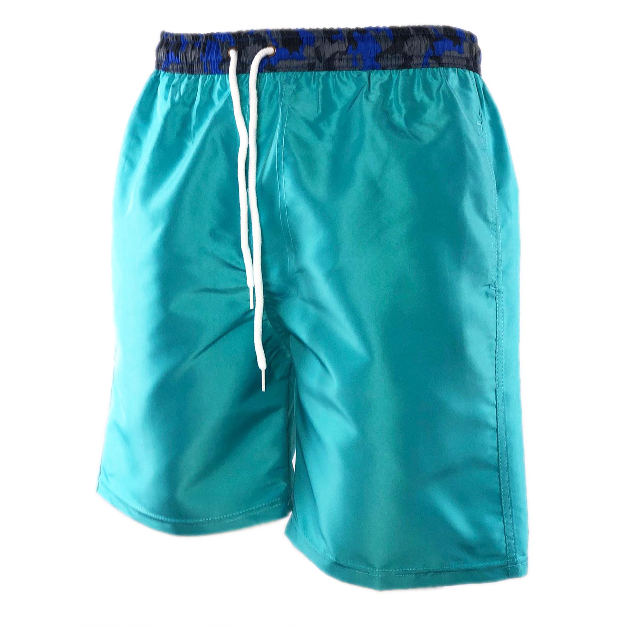 Costume-da-Bagno-Uomo-Lungo-Boxer-Celeste-Camouflage-Pantaloncino-Bermuda-Mare miniatura 2