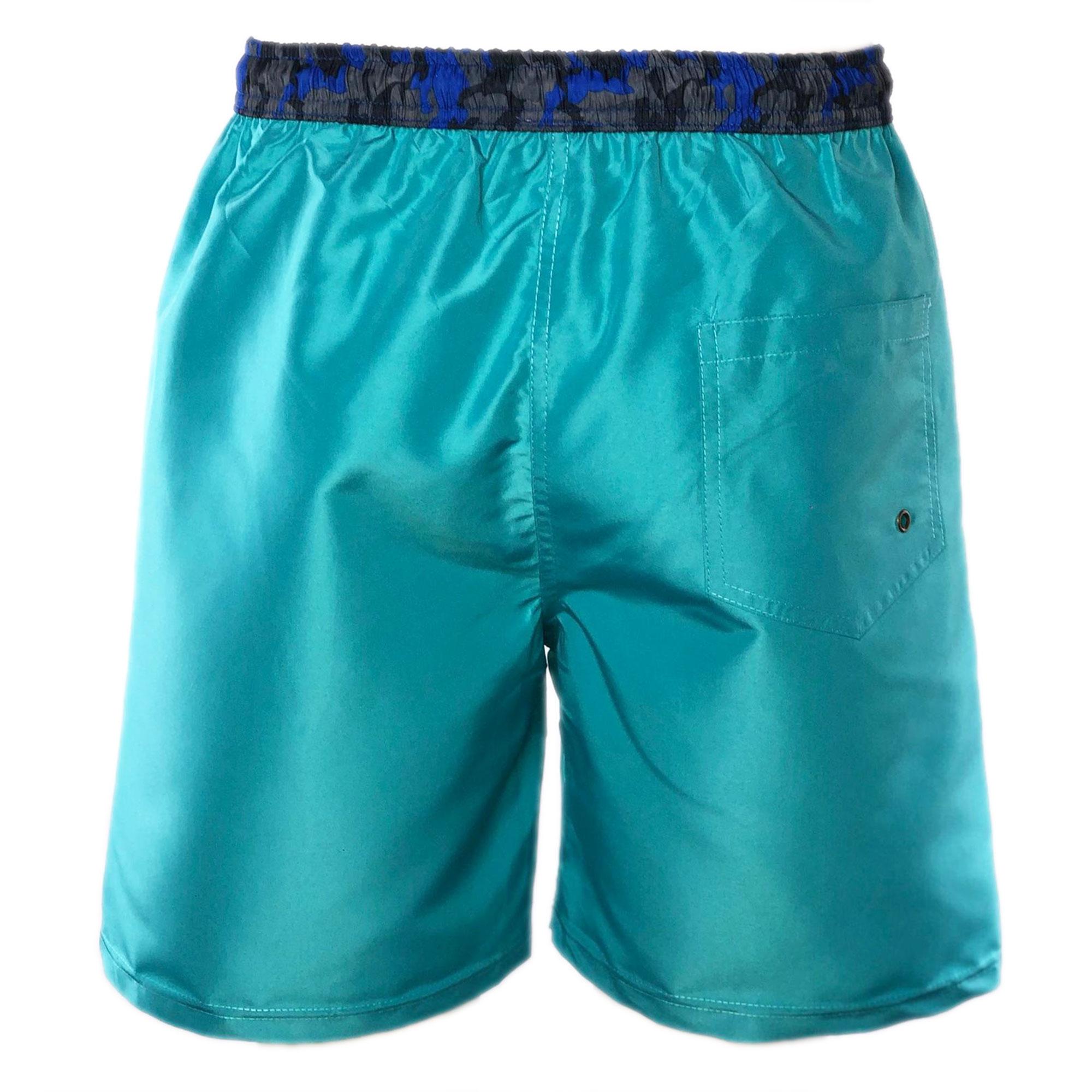 Costume-da-Bagno-Uomo-Lungo-Boxer-Celeste-Camouflage-Pantaloncino-Bermuda-Mare miniatura 3