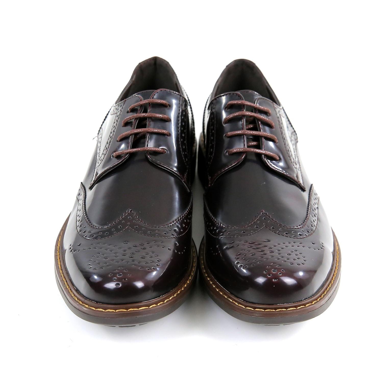 Scarpe-Inglesine-Uomo-Derby-Eleganti-Pelle-Bordeaux-Marroni-Francesine-Stringate miniatura 2