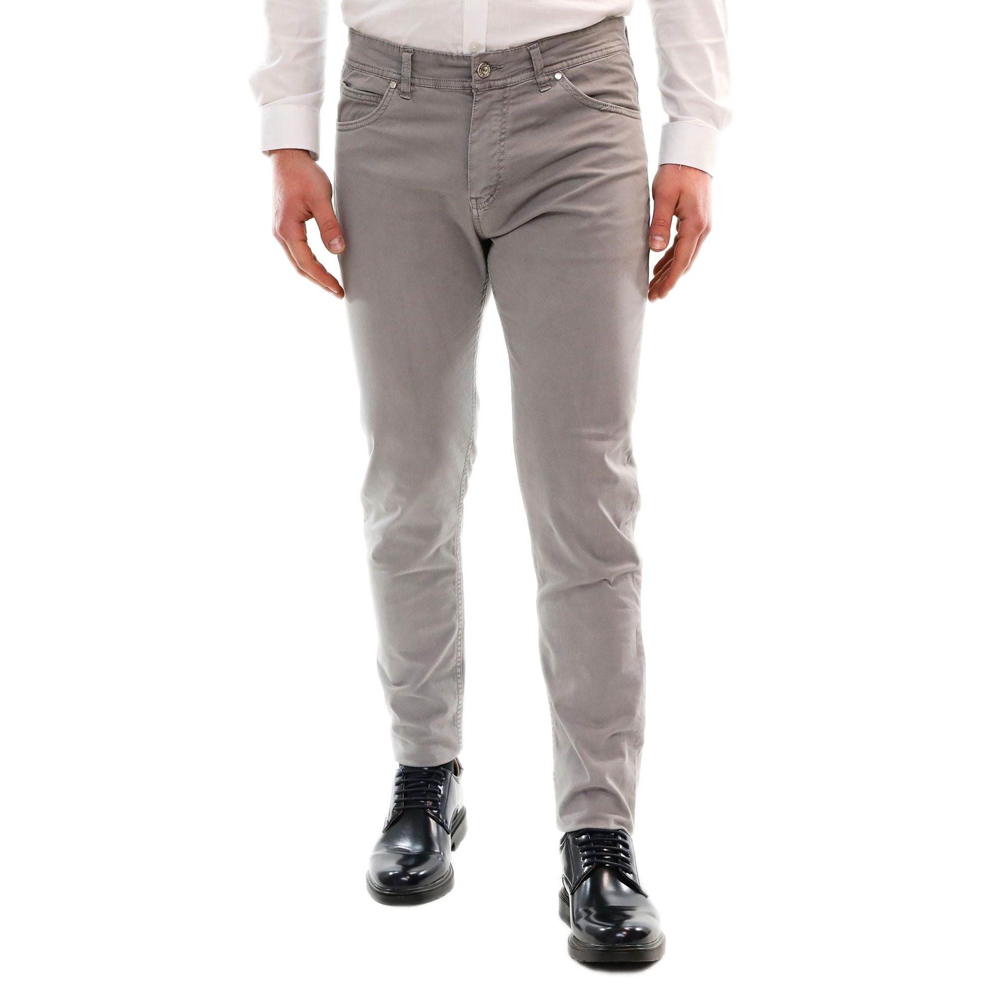 4dc1d19df4 PANTALONE UOMO ELEGANTE Grigio Slim fit Cotone Chino Jeans Casual 5 Tasche