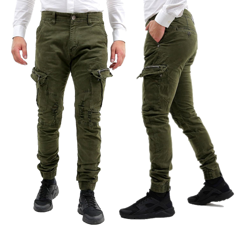 Caviglie Elastico Cargo Laterali Uomo Pantaloni Verde Tasche Con 0U48qT