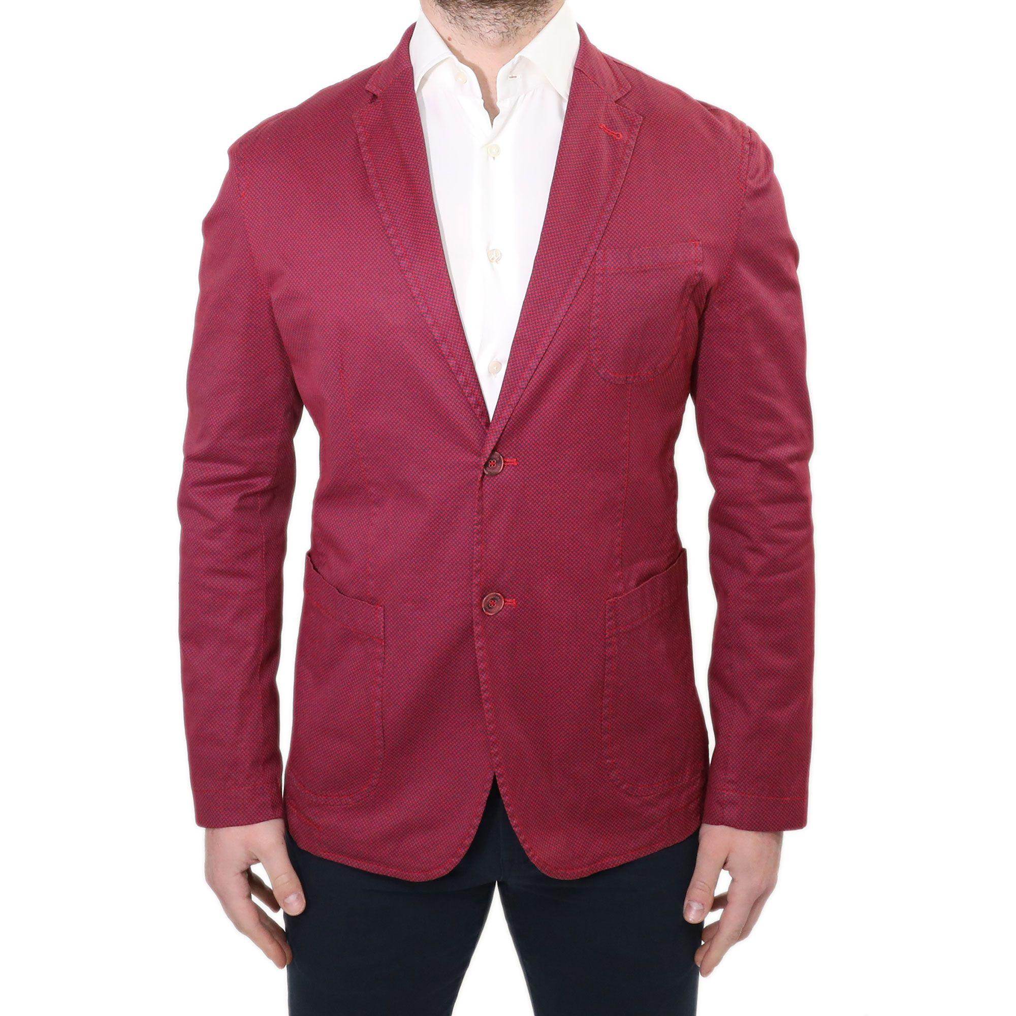 c79bb98a6b Giacca Uomo Elegante Blazer Slim Fit Sartoriale Rosso Casual Sportivo  Jacquard