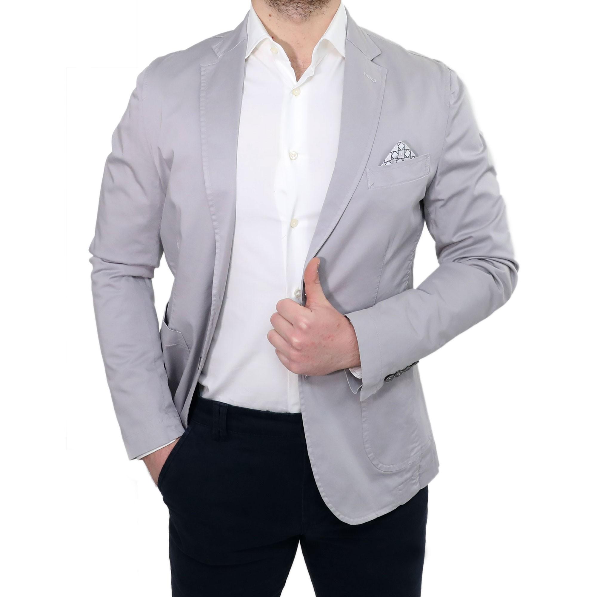 Giacca Blazer Uomo Elegante Slim Fit Classica Grigio Perla Sartoriale Casual 61c48a251f3