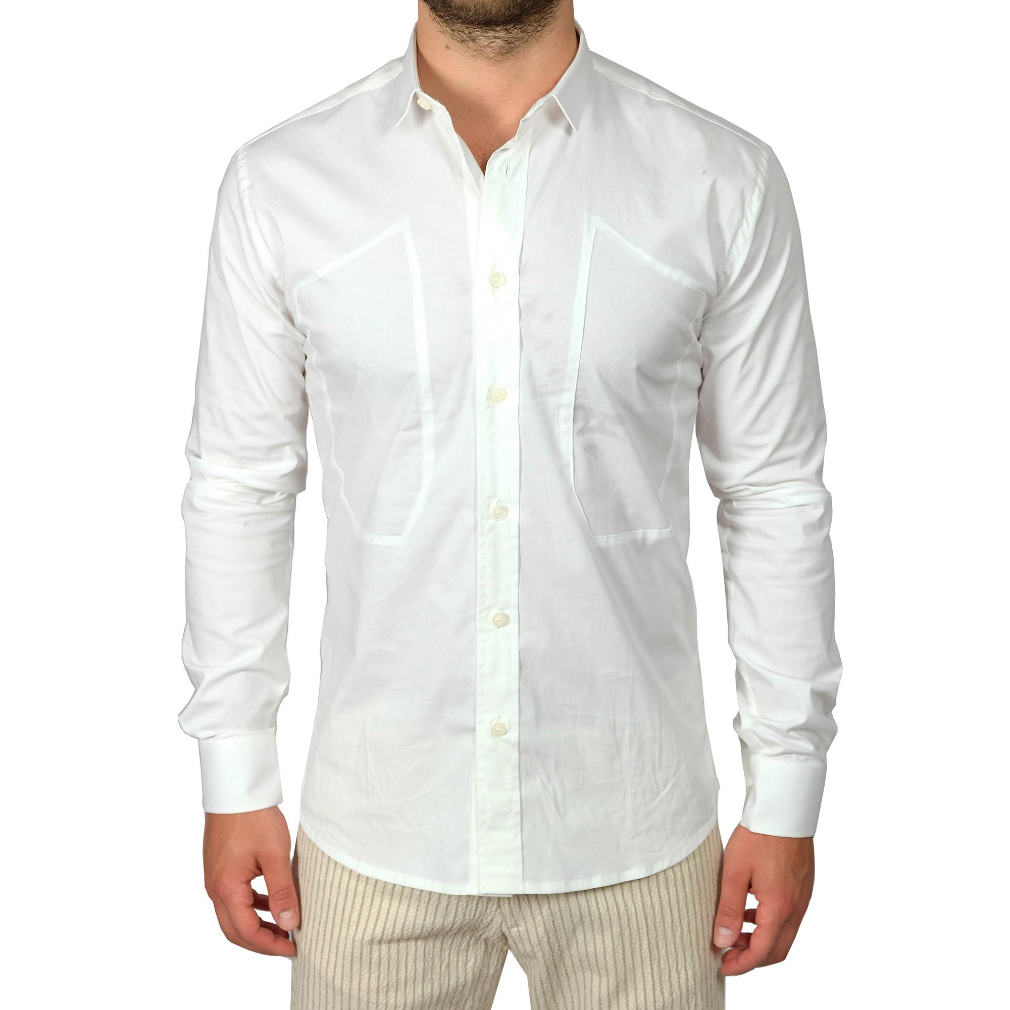 75212b3011 Camicia Uomo Bianca Maniche lunghe Slim Basic Casual Colletto Classico  Rigido