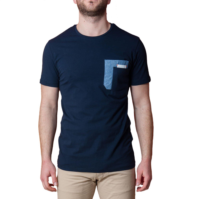 b3953d56f468 T-Shirt Uomo Blu Taschino Maglia Manica Corta Elegante Maglietta Casual  Cotone
