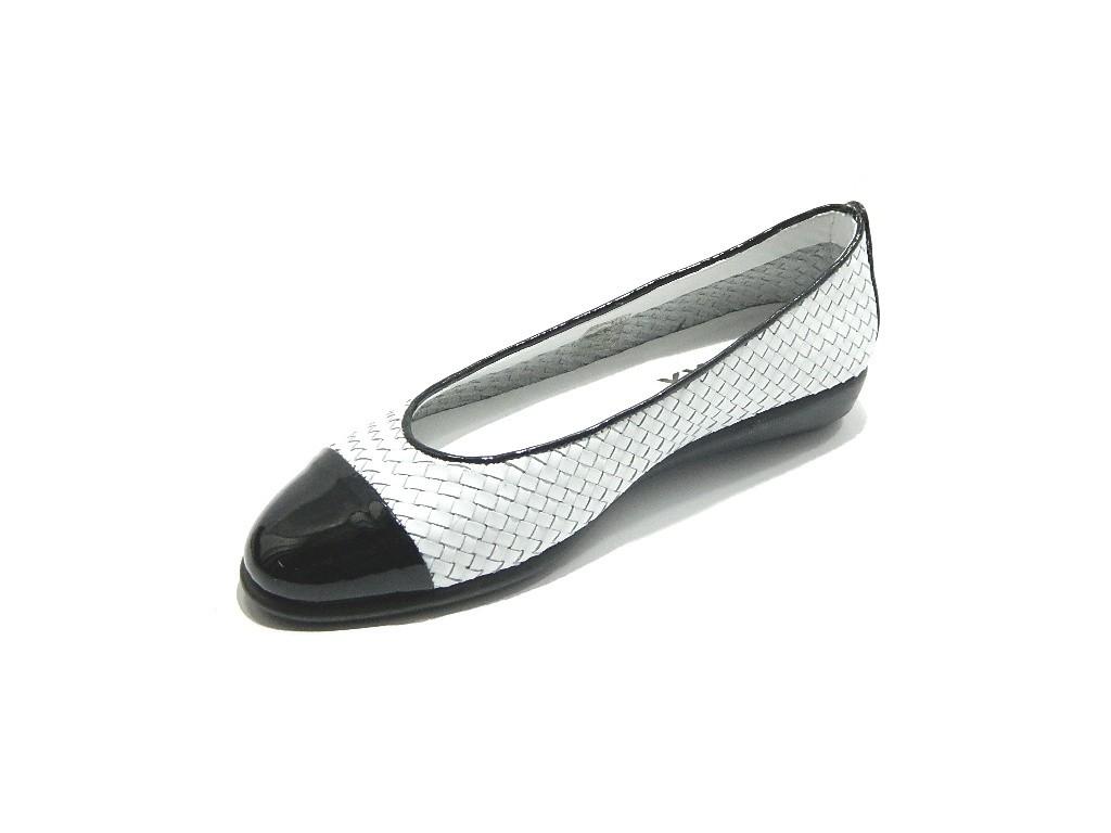 THE FLEXX Rise a Smile Smile Smile zapatos mujer Ballerina Intrecciato Bianco negro 9d22b0