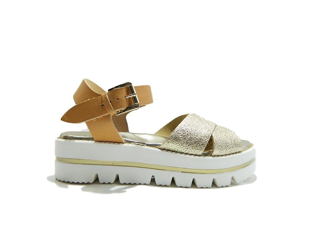 KEYS 5873 zapatos mujer Sandali Platform Cuoio Platino