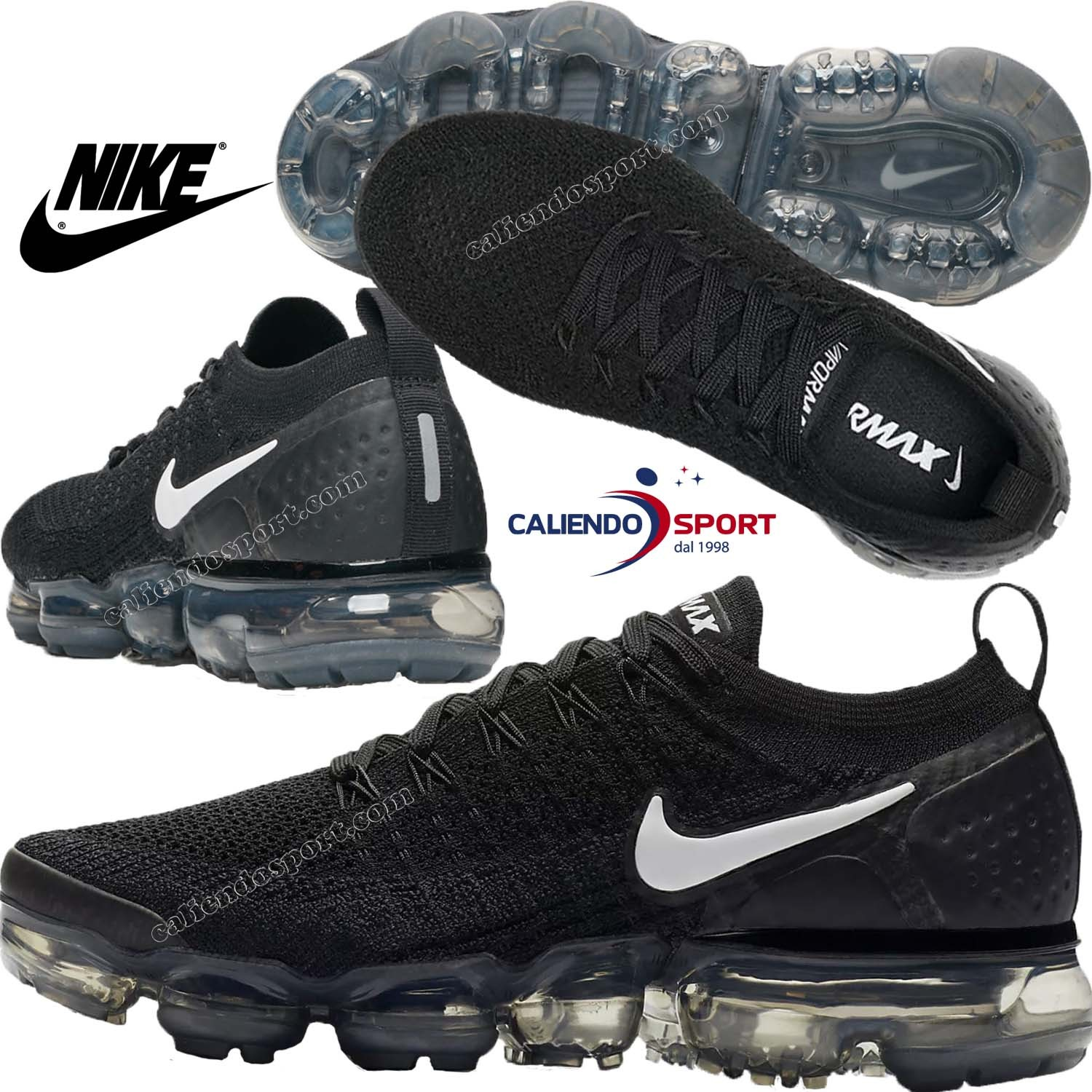 NIKE AIR VAPORMAX Flyknit 2 942843 001 SCARPA DONNA RUNNING NERO