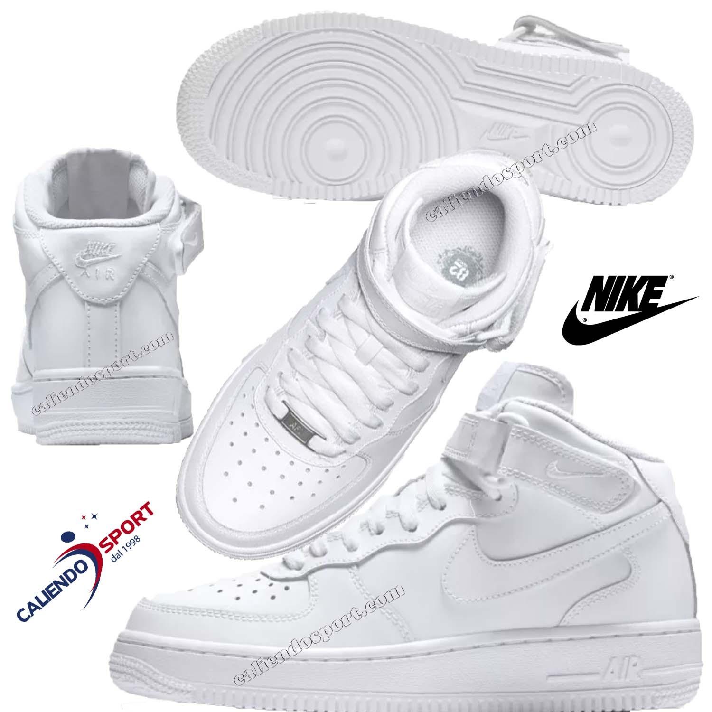 Scarpa Nike Ragazzo Air Force 314195 113 Bianco Collo Alto Sneaker Sport ef0eb7056e7