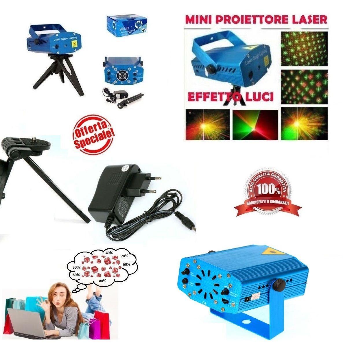 Mini Proiettore Effetto Luci Laser Per Disco Discoteca Dj.Mini Proiettore Laser Effetto Luci Per Disco E Dj Discoteca Feste
