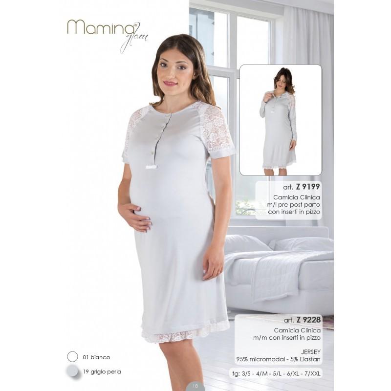 Camicia Da Notte Mezza Manica Clinica Pre/post Parto Con Inserti In Pizzo Mamina Design Professionale