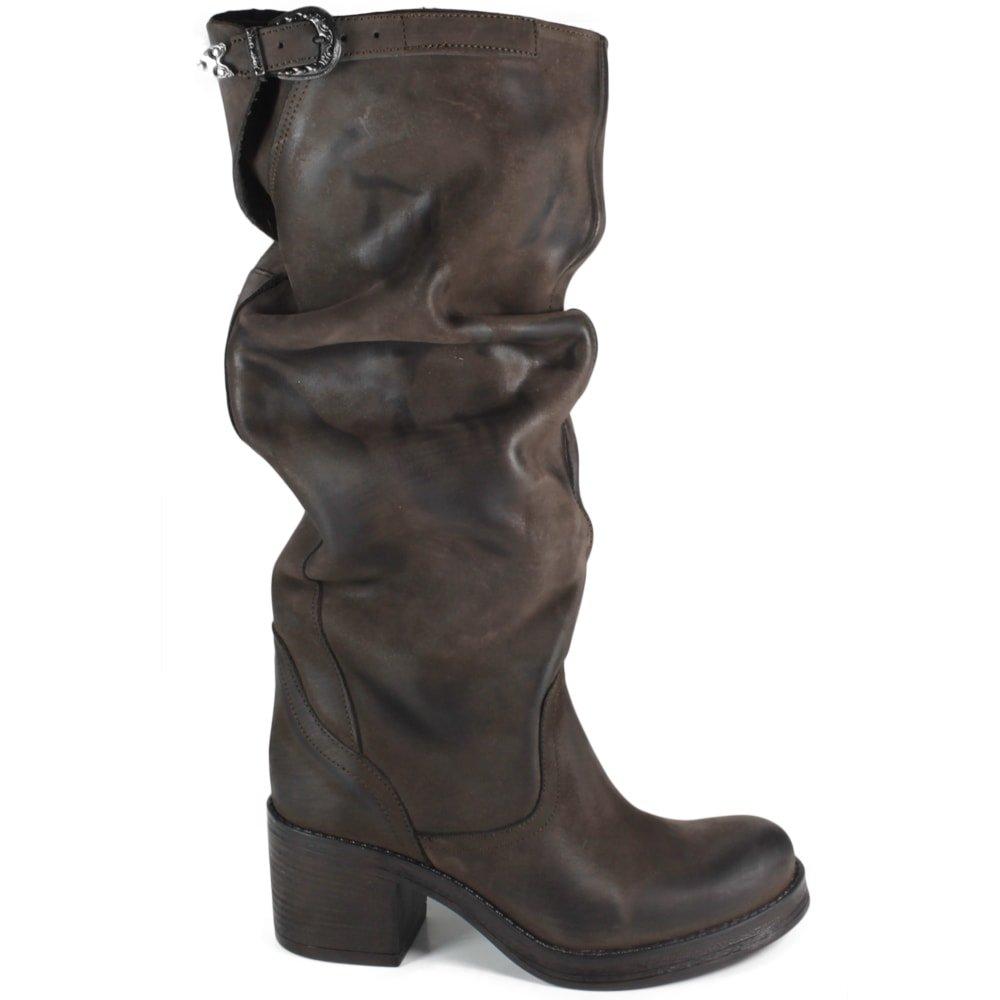 Vera Pelle In Boots Italy Stivaletti Made Donna Alti Stivali Marrone Tacco Biker xwAUqFxBY