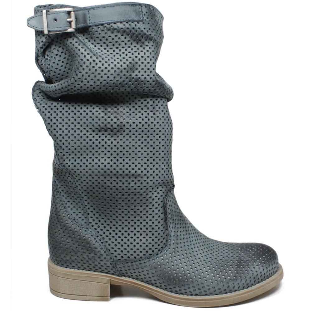 Grandes zapatos con descuento Stivali Stivaletti Traforati Biker Boots Estivi Donna Vera Pelle Blu Leggeri
