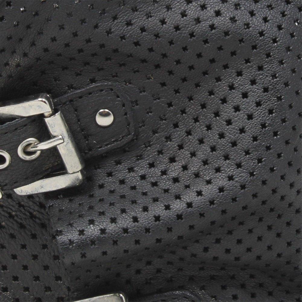 Stivali Stivaletti Traforati Biker Biker Biker Boots Fibbie Estivi Donna Vera Pelle Nero 4b967a