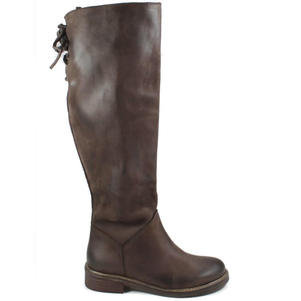 botas Alti Lacci Polpaccio Biker botas mujer Pelle Nabuk marrón Made in