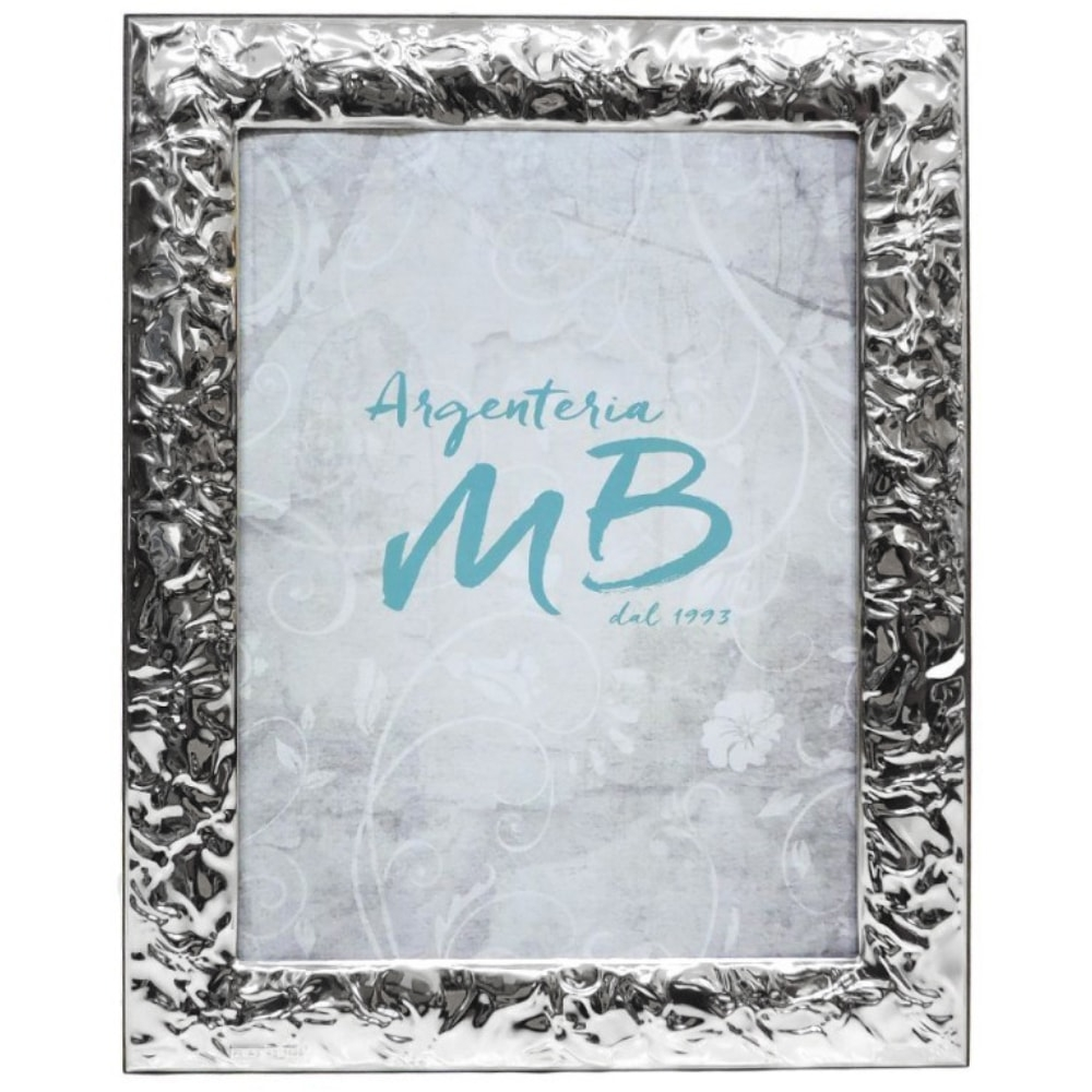 Silver Photo Picture Frame 7 X 9 Glossy Creased Effect Ebay