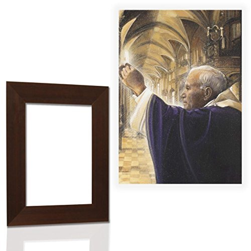 Quadro Sacro Con Cornice Noce Papa Woityla 15 Misure 46x61cm High Quality And Inexpensive Arredamento D'antiquariato