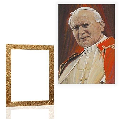 Arte E Antiquariato Arredamento D'antiquariato Quadro Sacro Con Cornice Oro Papa Woityla 12 Misure 46x61cm High Resilience