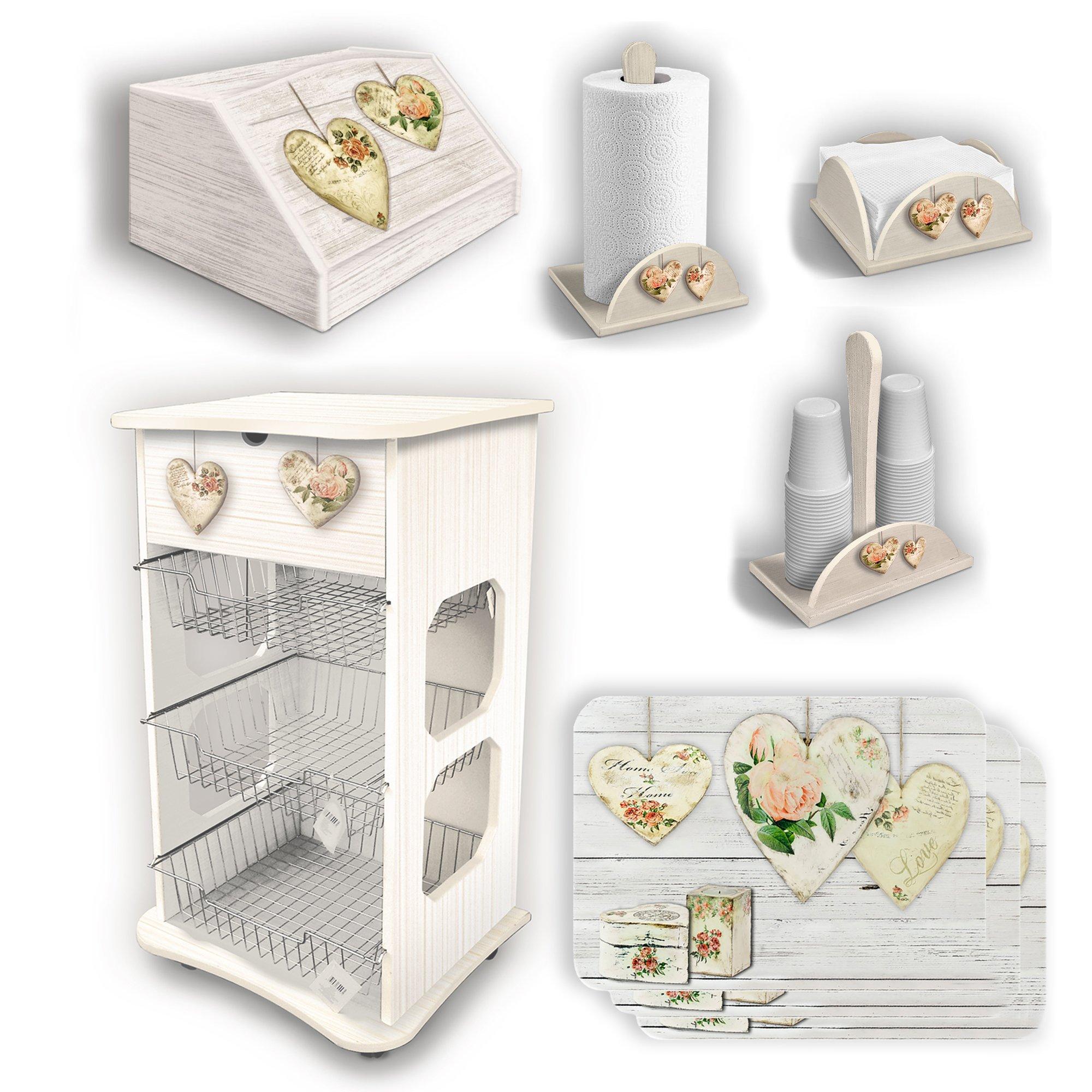 Set da cucina shabby con carrello, portapane e accessori | eBay