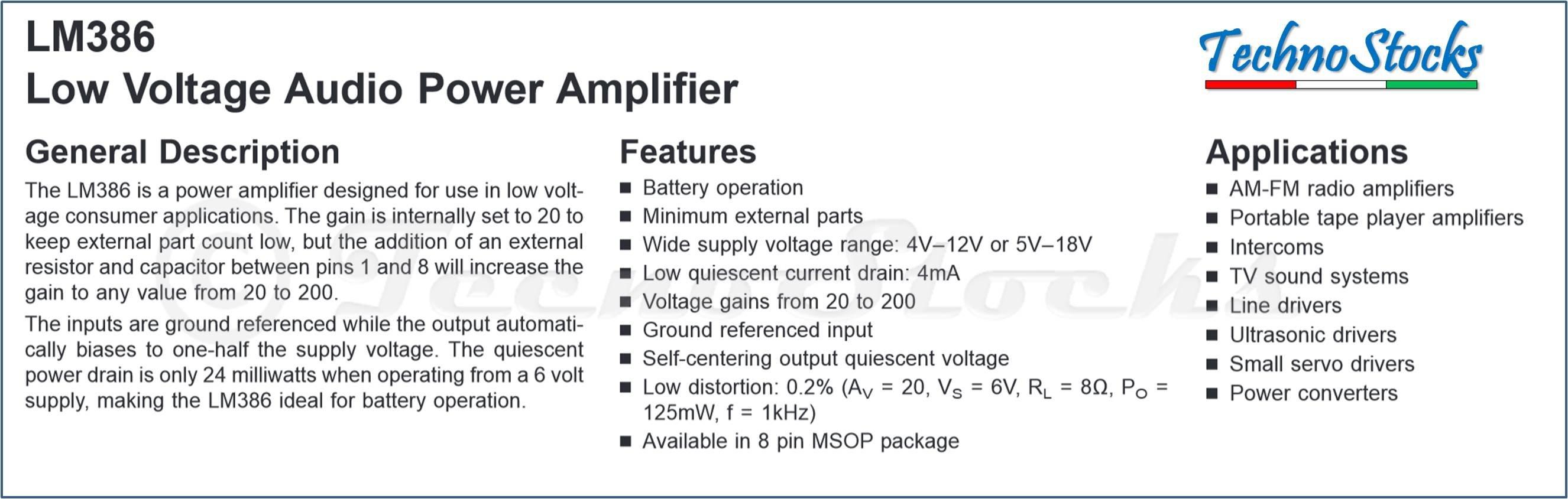 2x Lm386n Lm386 Amplificatore Low Voltage Audio Power Amplifier Dip8