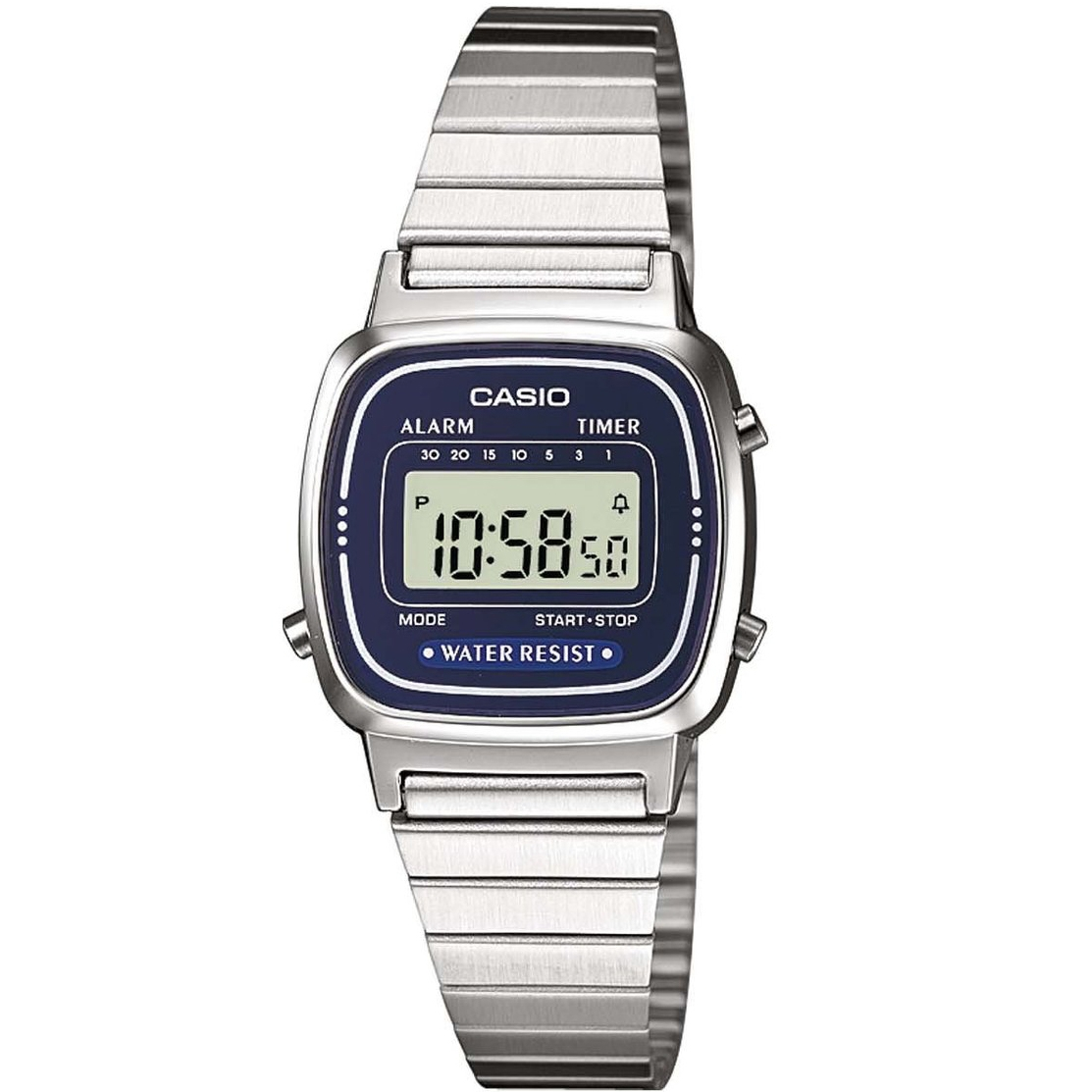Orologio-Originale-Casio-LA670WA-2-Donna-Acciaio-Blu-notte-Crono-Sveglia-Vintage