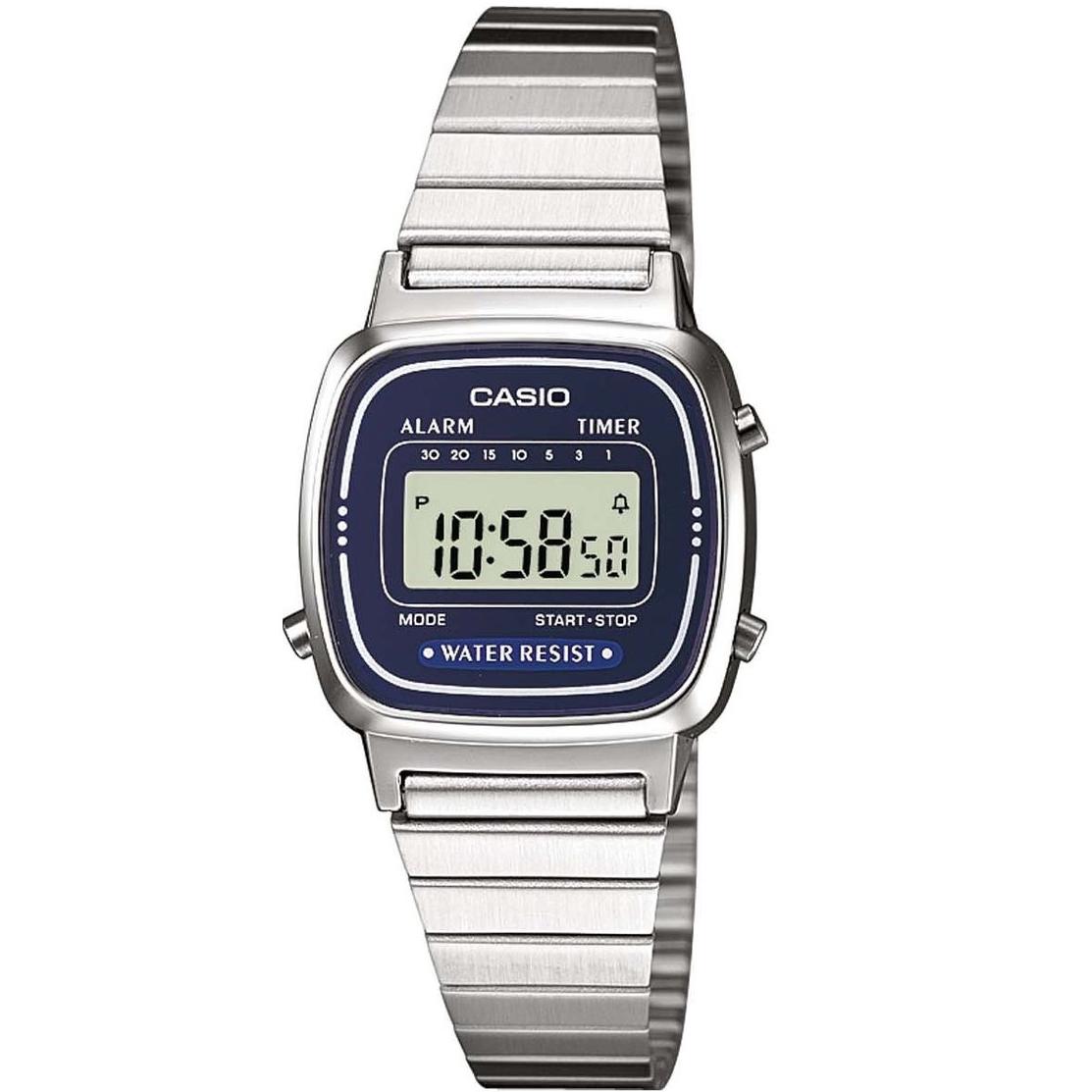 Orologio Originale Casio LA670WA-2 Donna Acciaio Blu notte Crono Sveglia Vintage
