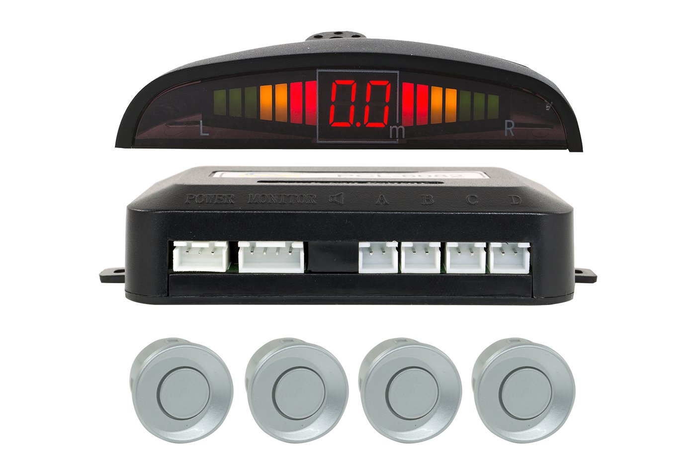 Kit 4 Sensori Di Parcheggio Per Auto Con Display Suono Led Acustico Verniciabili