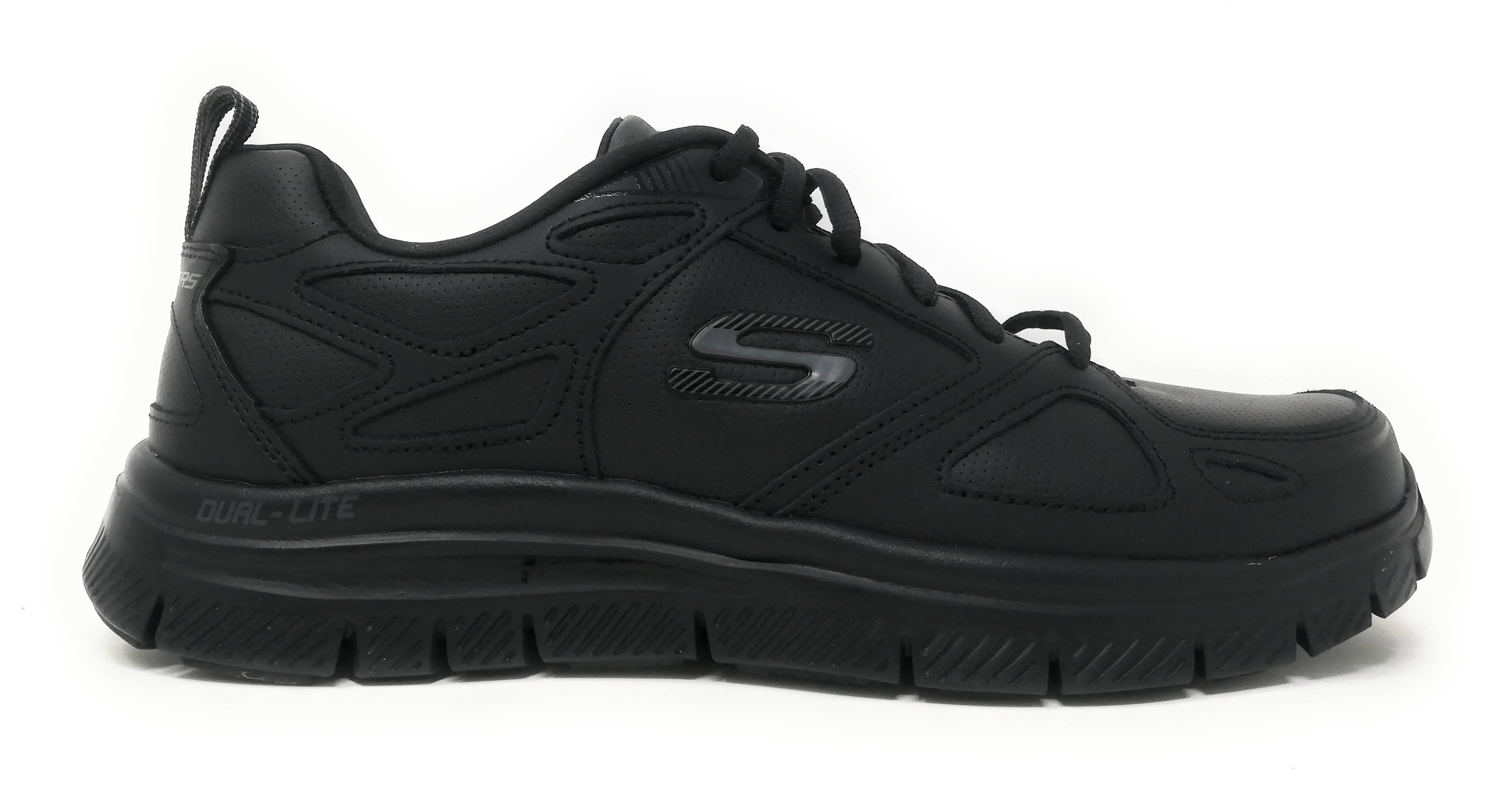 Scarpe Skechers Sport per uomo in pelle e sintetico nero con memory foam  51461-BBK fa79f08fe29