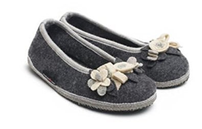 HAFLINGER pantofole fiori ballerina MARINA BLUTEN 62331704 lana cotta fiori pantofole ANTRACITE 3c208b