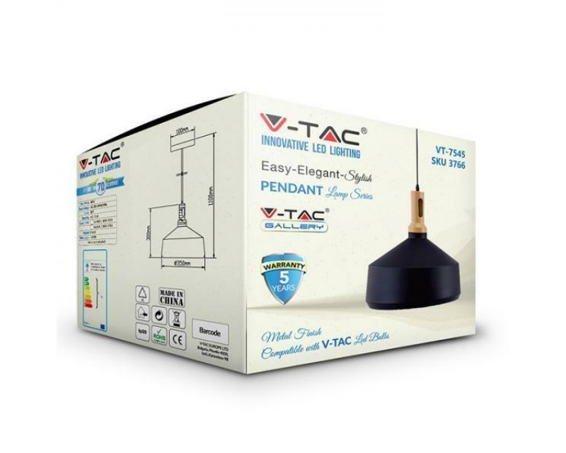 Suspended-lights-with-base-E27-metal-and-wood-V-TAC-VT-7545 miniatuur 6