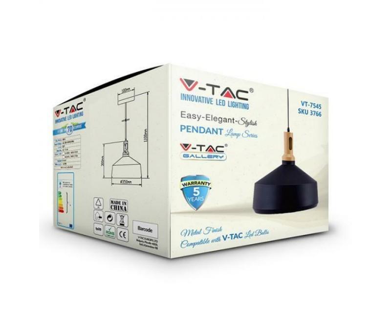 Luminaire-suspendu-attaque-avec-E27-metal-et-bois-V-TAC-VT-7545 miniatuur 6