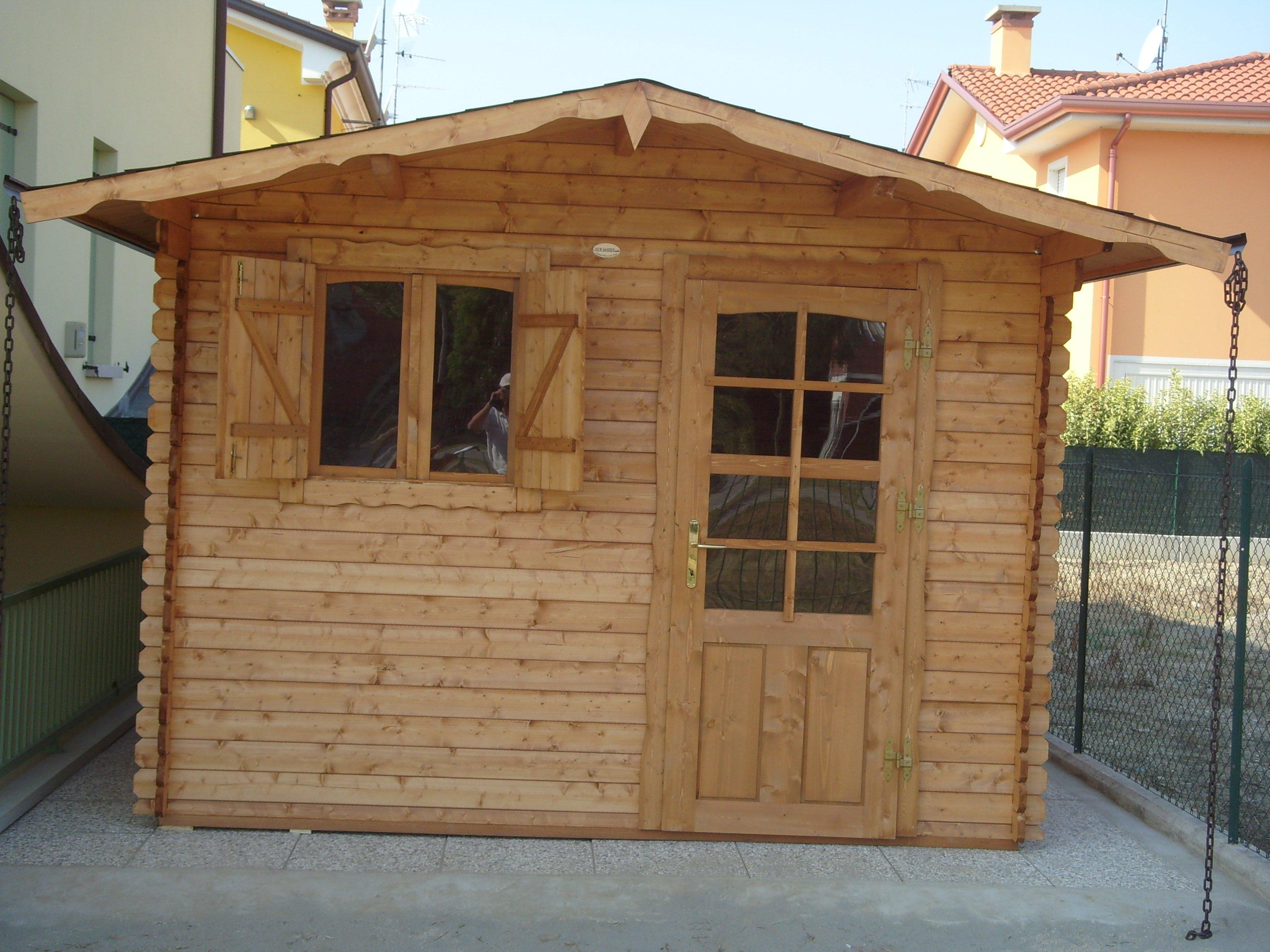 Casetta in legno nuova blockhouse porta finestra noce chiaro gi impregnata 28m ebay - Porta finestra in legno ...