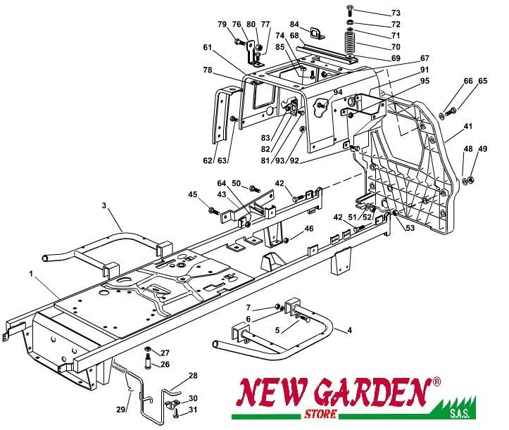 Exploded view frame mower lawn mower 98cm XL160HD