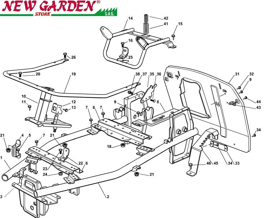 Exploded view frame mower lawn mower EL63 XE75
