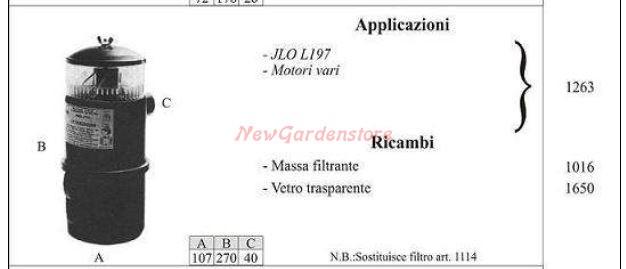 FILTRO A BAGNO D/'OLIO MOTORE JLO L197